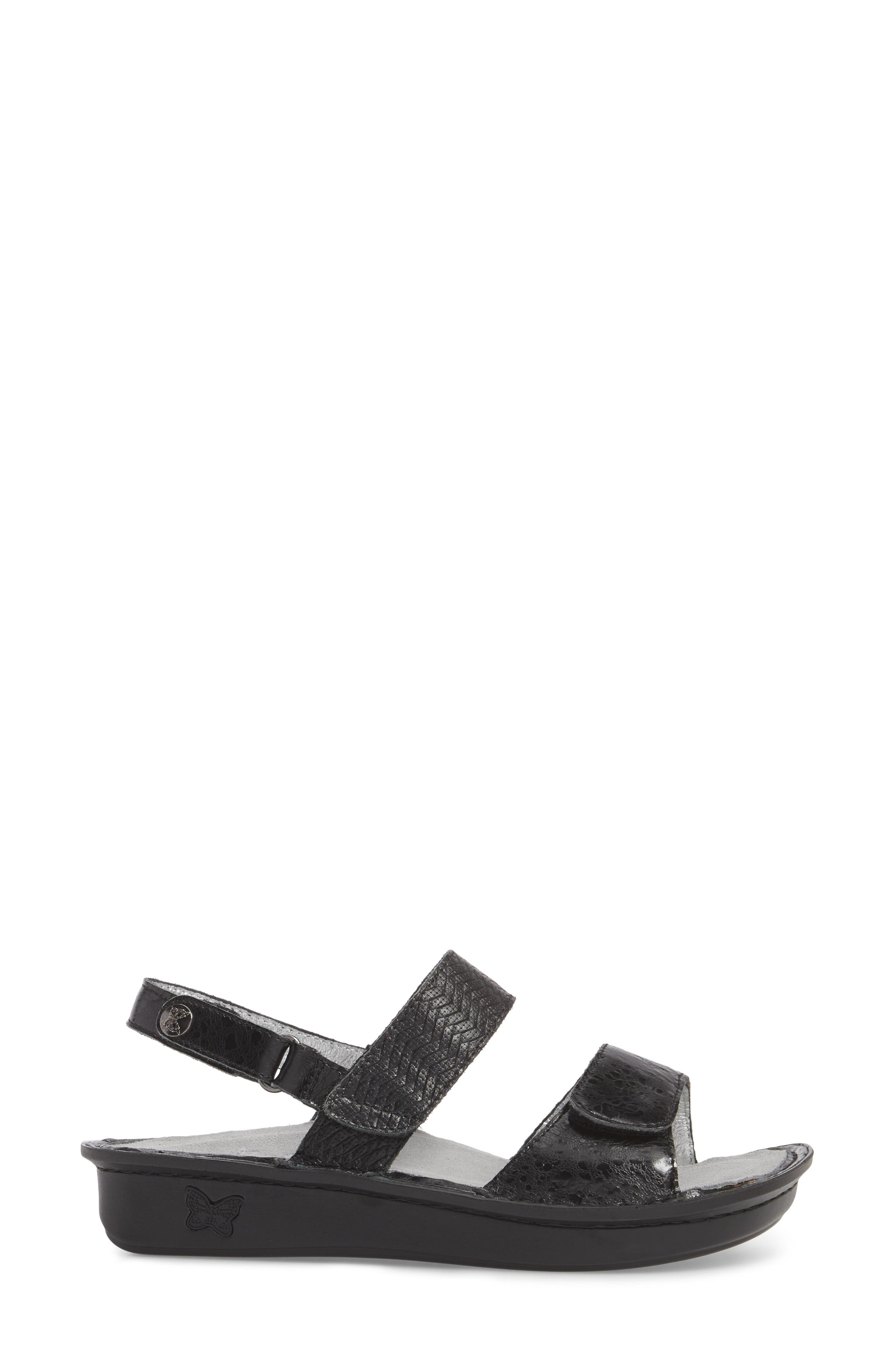 ALEGRIA, 'Verona' Sandal, Alternate thumbnail 3, color, BRAIDED BLACK LEATHER