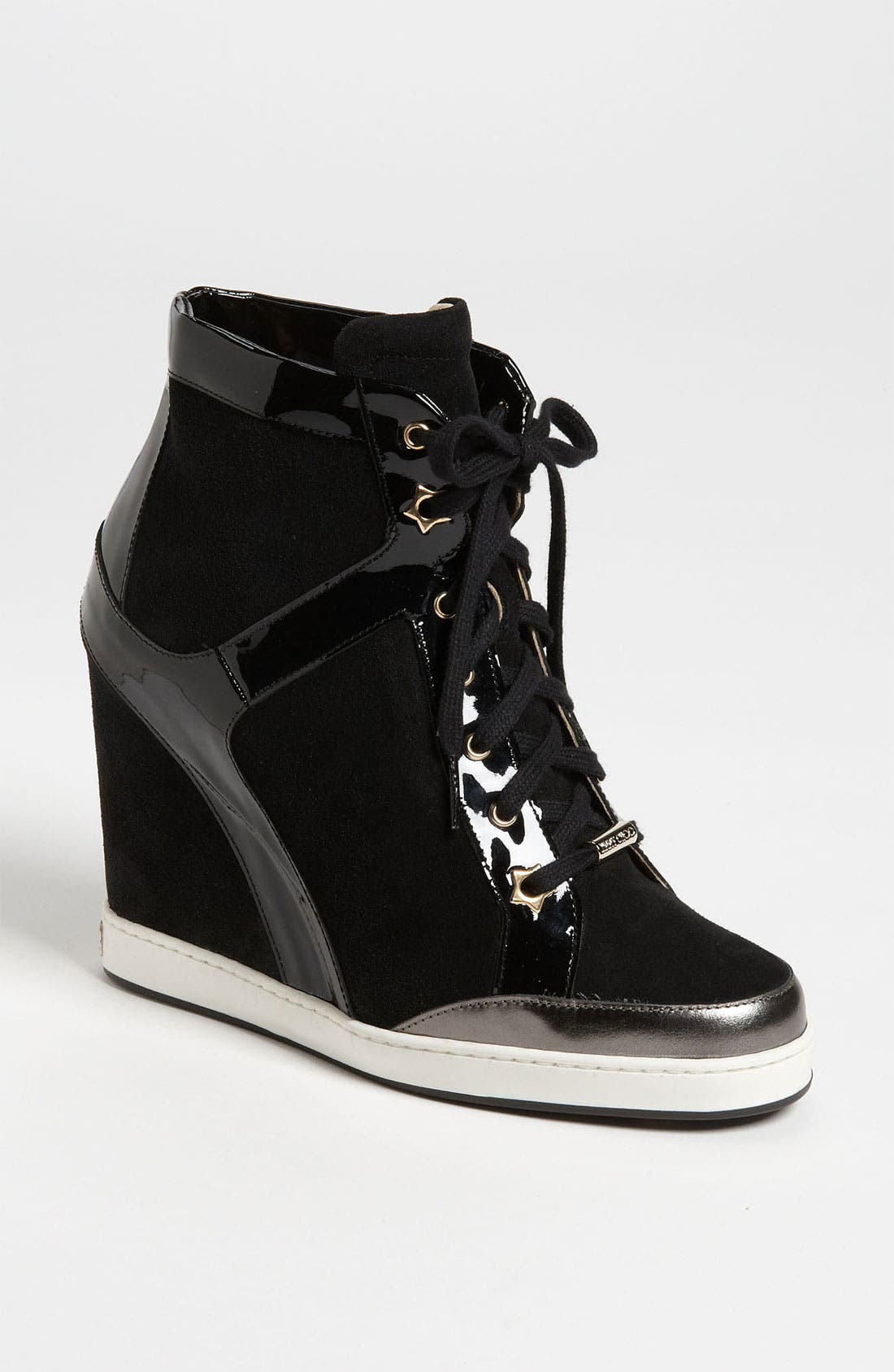 JIMMY CHOO, 'Panama' Wedge Sneaker, Main thumbnail 1, color, 001