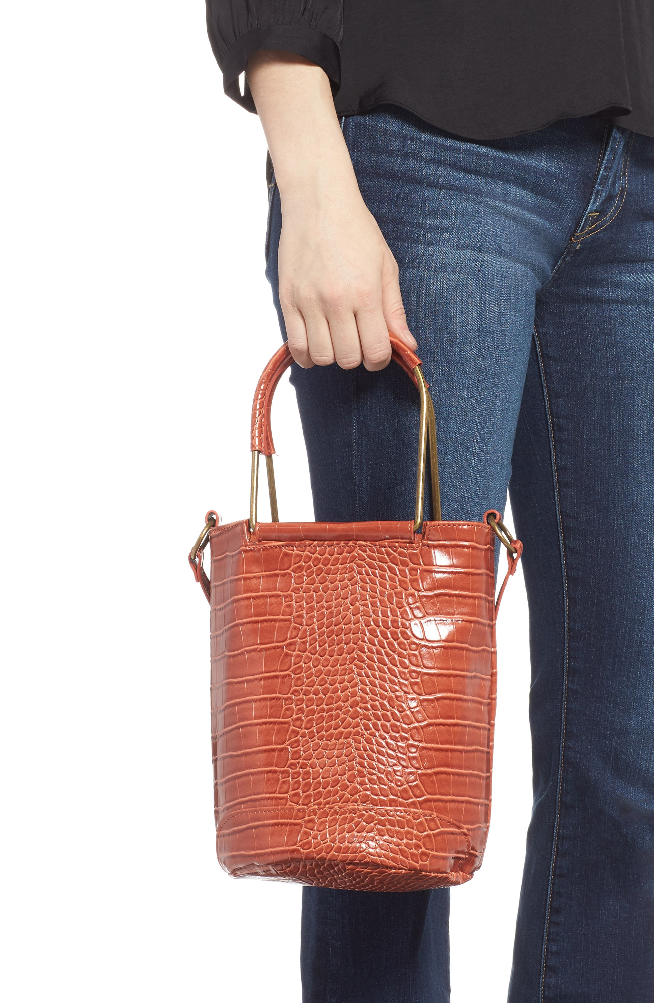 T-SHIRT & JEANS, Croc Embossed Faux Leather Tote, Alternate thumbnail 4, color, 810