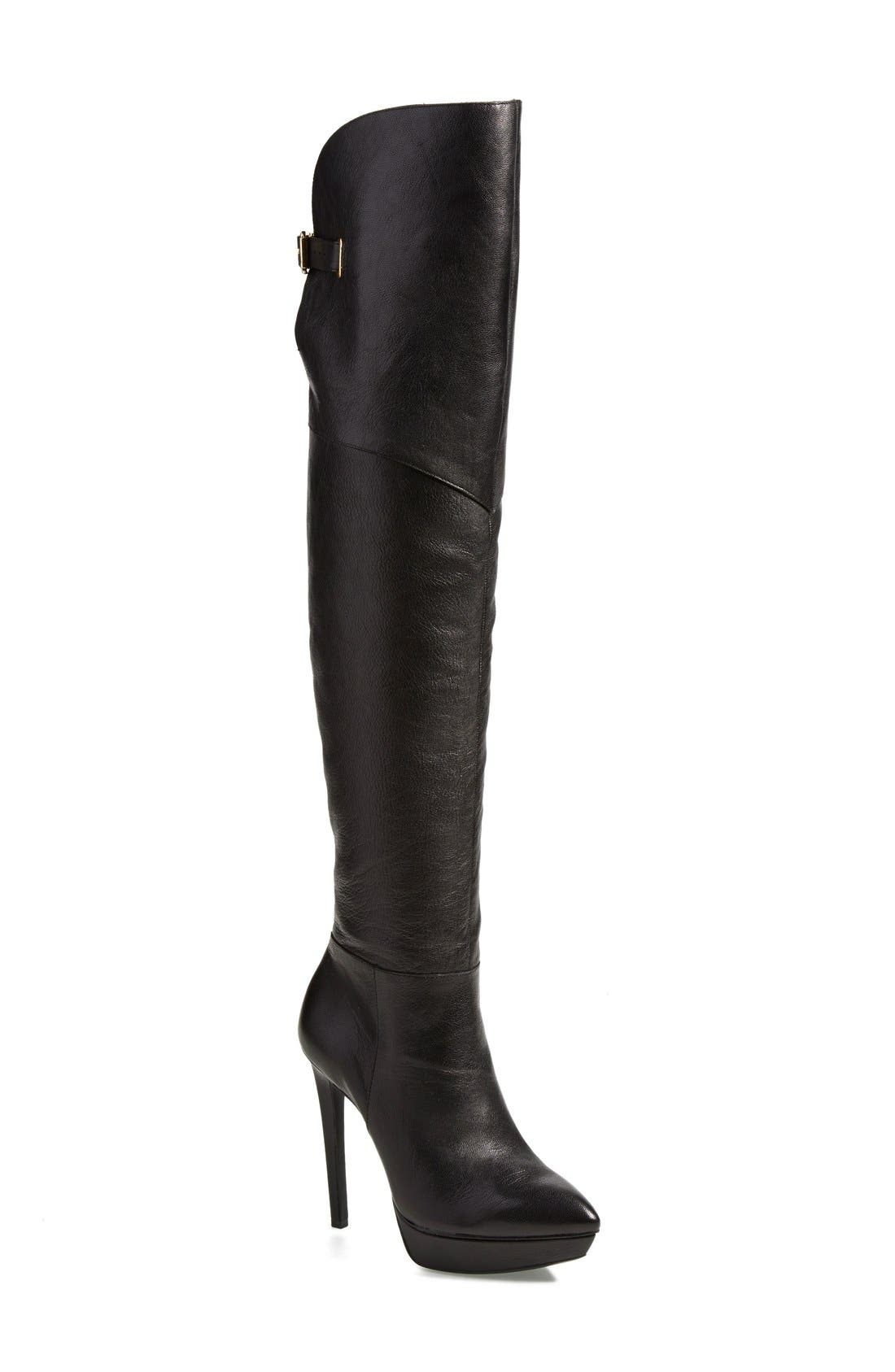 JESSICA SIMPSON, 'Valentia' Over the Knee Platform Boot, Main thumbnail 1, color, 001