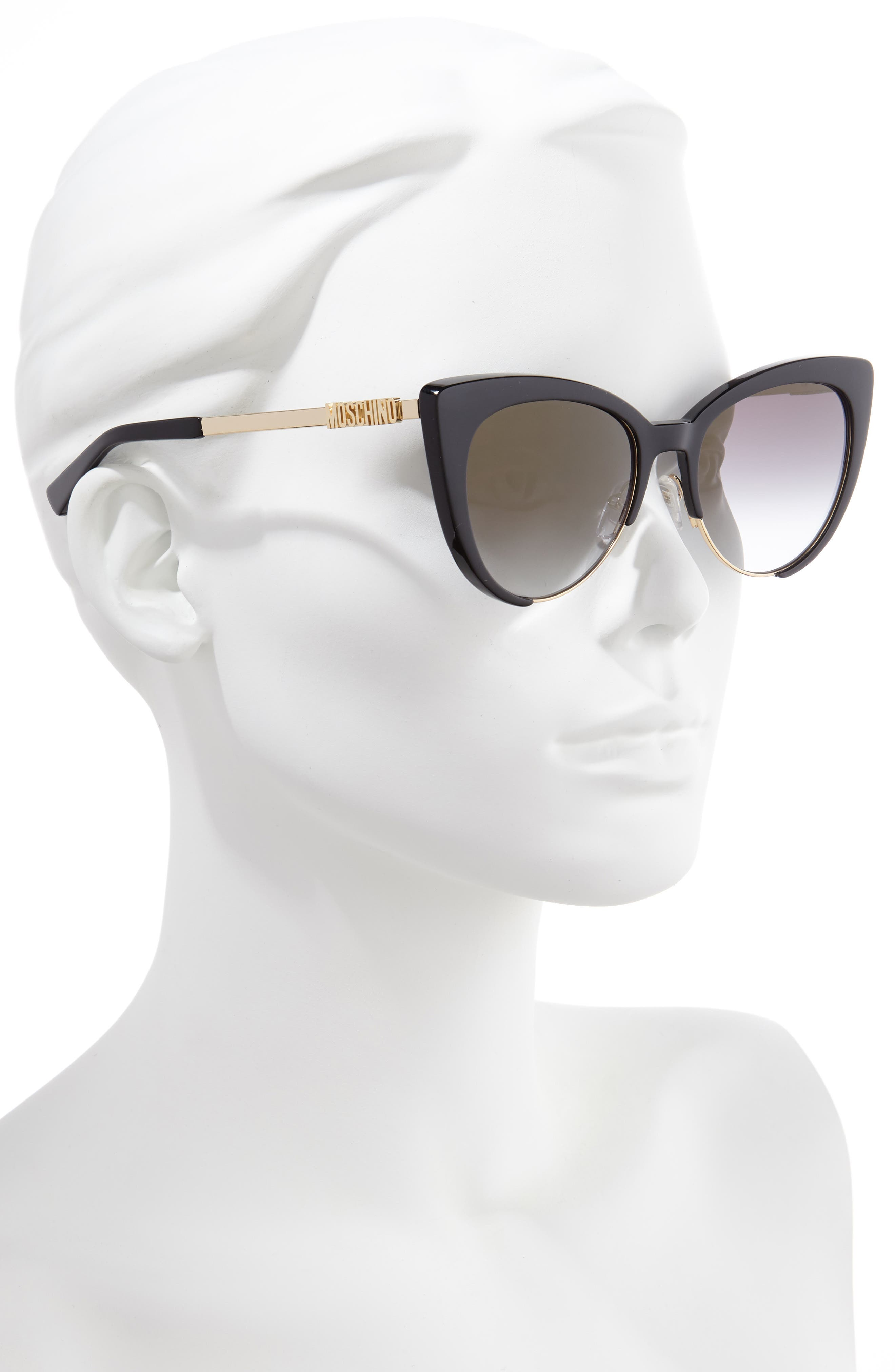 MOSCHINO, 55mm Cat Eye Sunglasses, Alternate thumbnail 2, color, BLACK