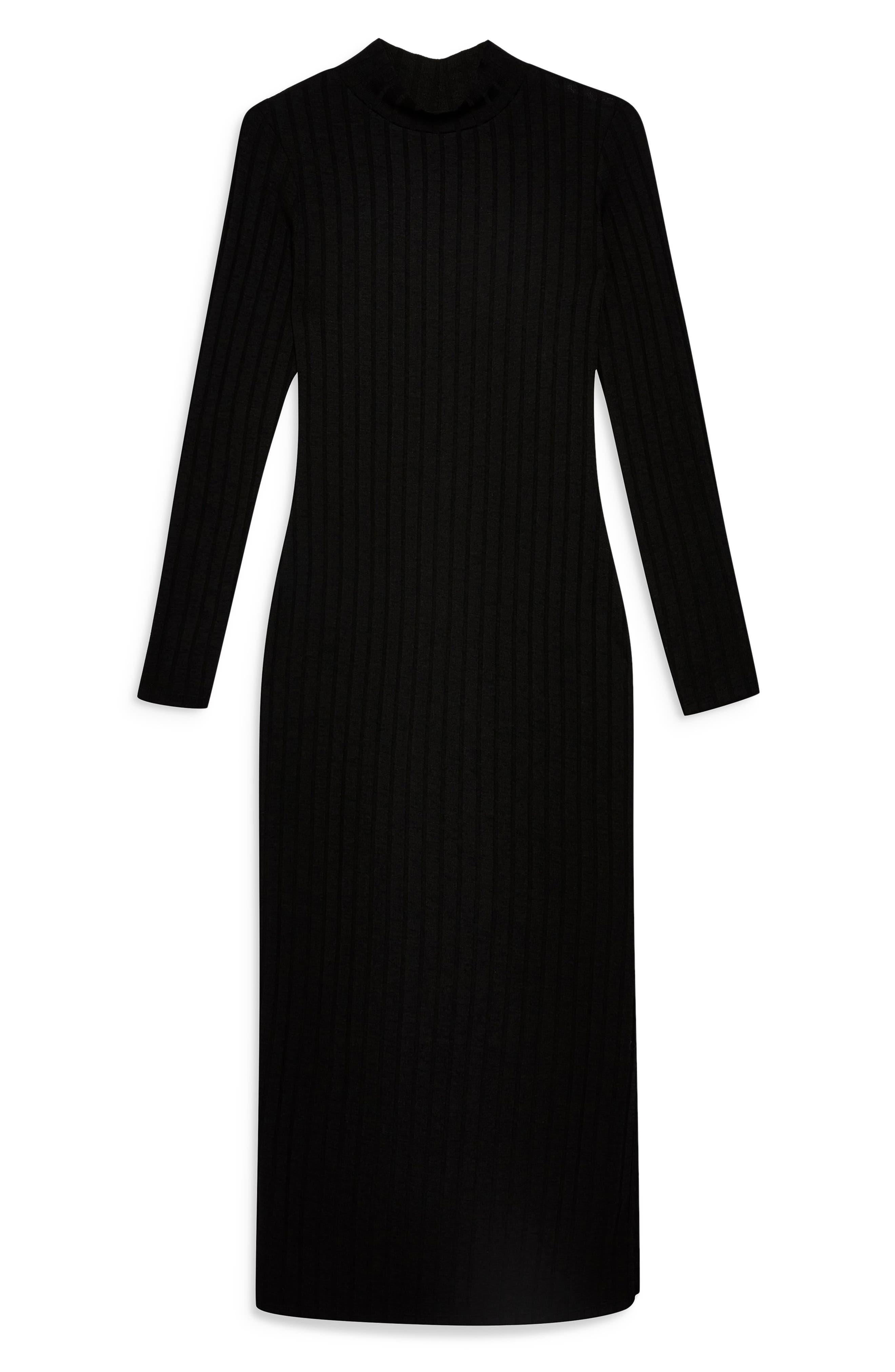 TOPSHOP, High Neck Ribbed Midi Dress, Alternate thumbnail 5, color, BLACK