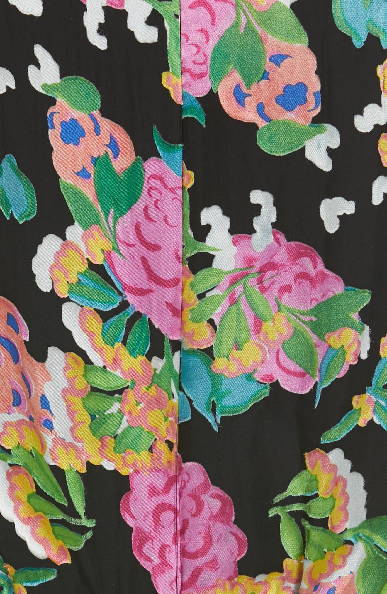 SALONI, Felicia Asymmetrical Silk Blend Dress, Alternate thumbnail 5, color, HYDRANGEA