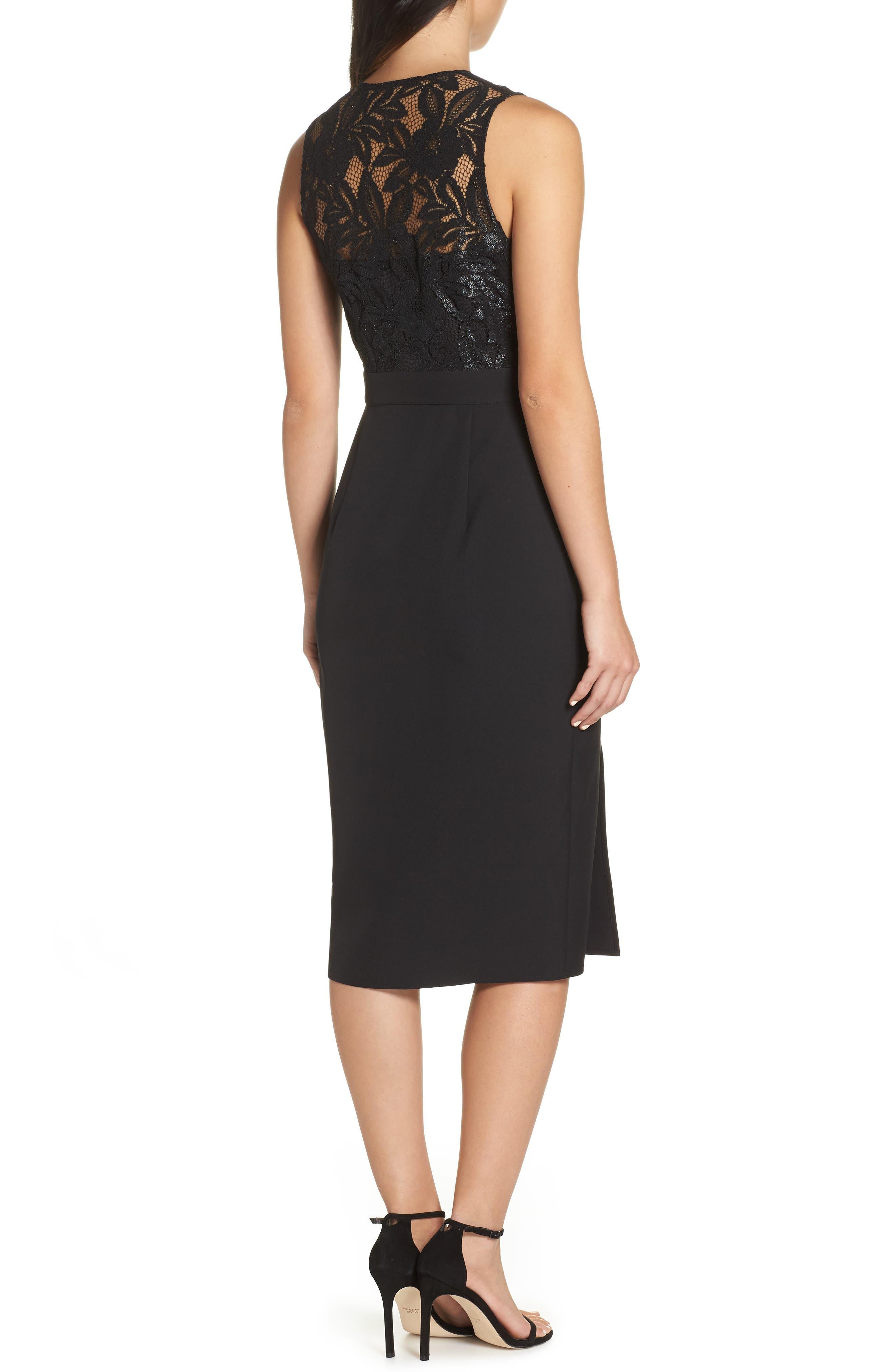 NSR, Kate V-Neck Lace Sheath Dress, Alternate thumbnail 2, color, 001