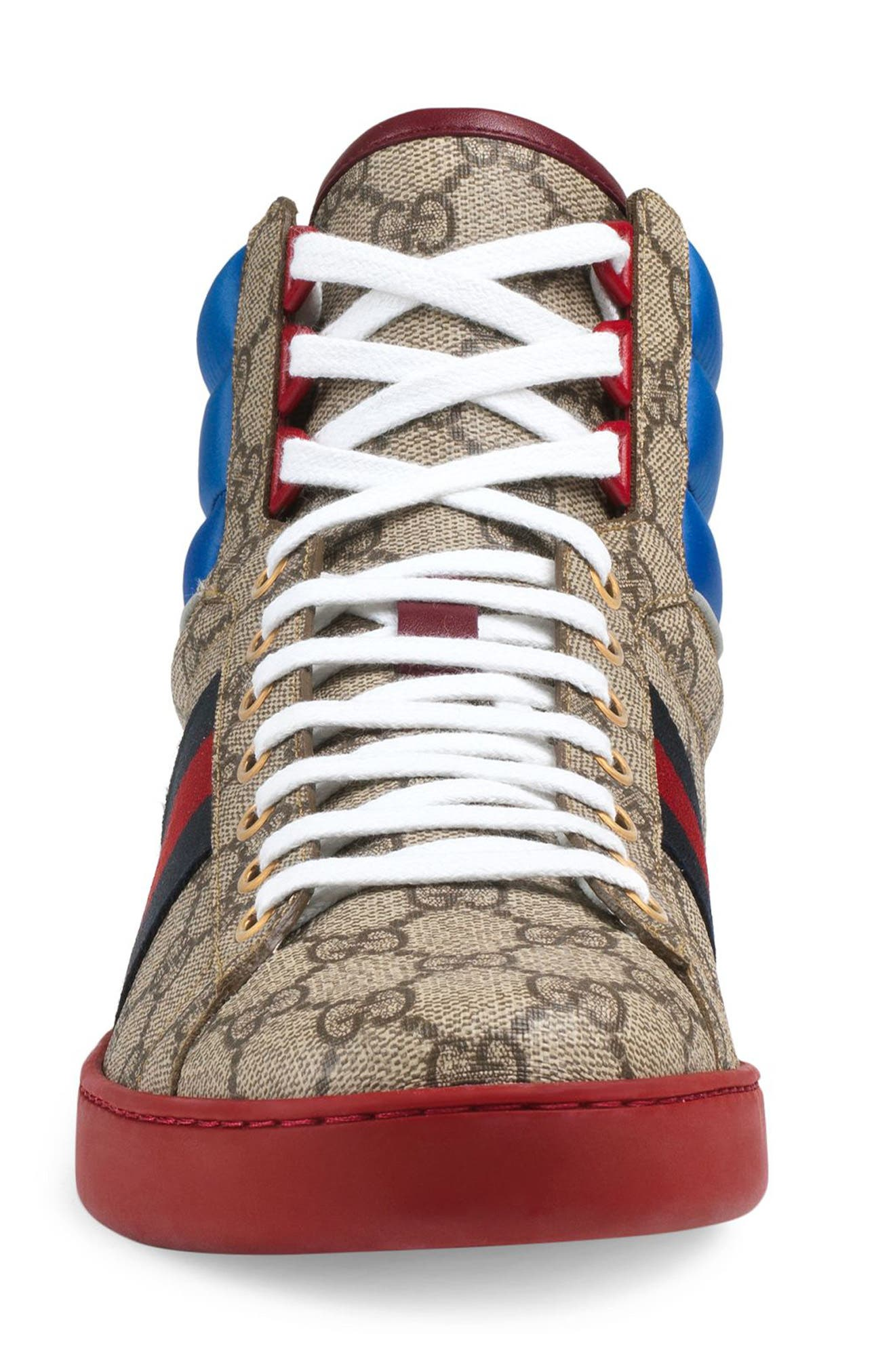 GUCCI, New Ace High GG Supreme Sneaker, Alternate thumbnail 3, color, NATURAL BEIGE/ LIGHT BROWN