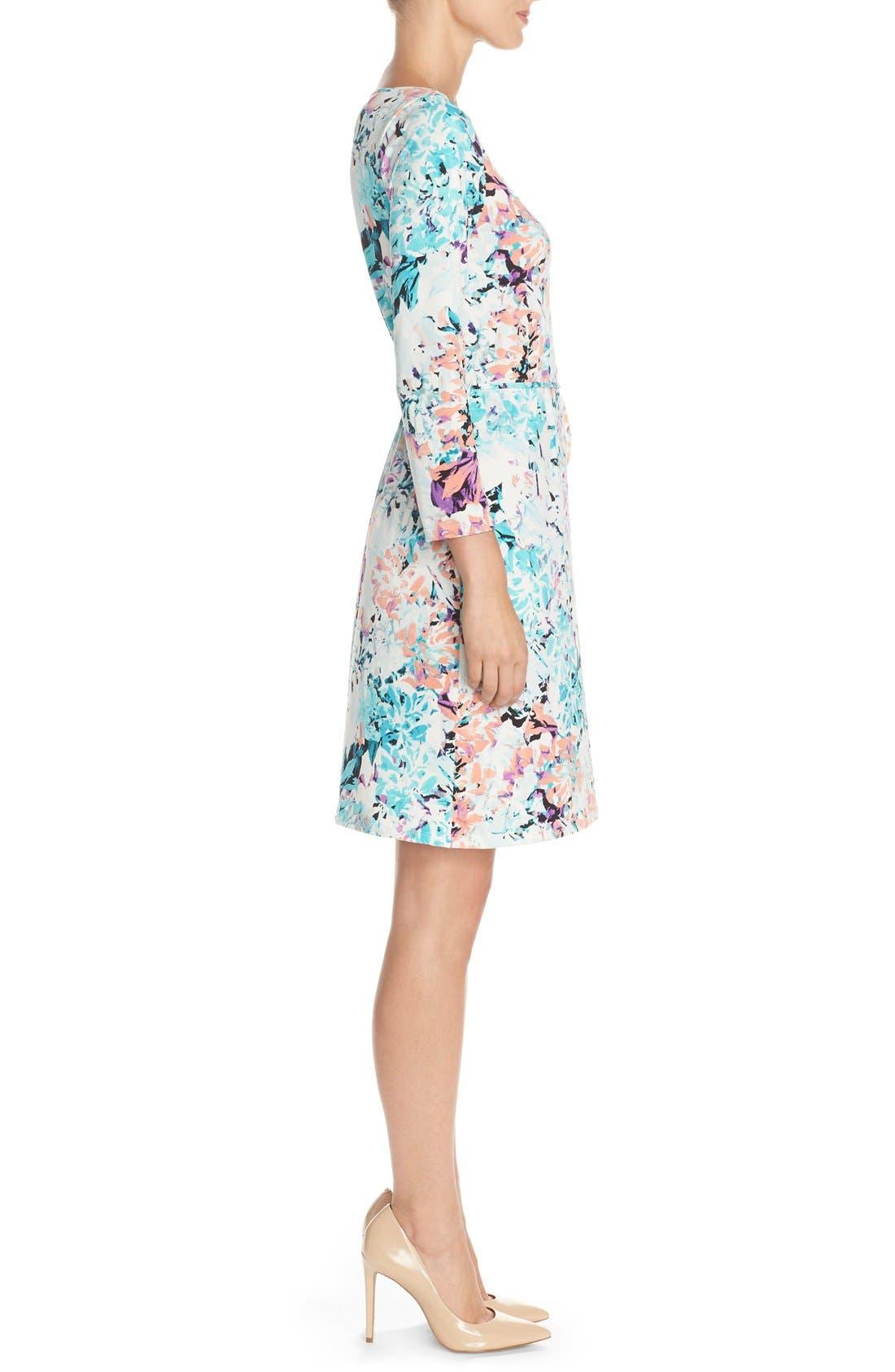 IVANKA TRUMP, Floral Print Jersey A-Line Dress, Alternate thumbnail 5, color, 101