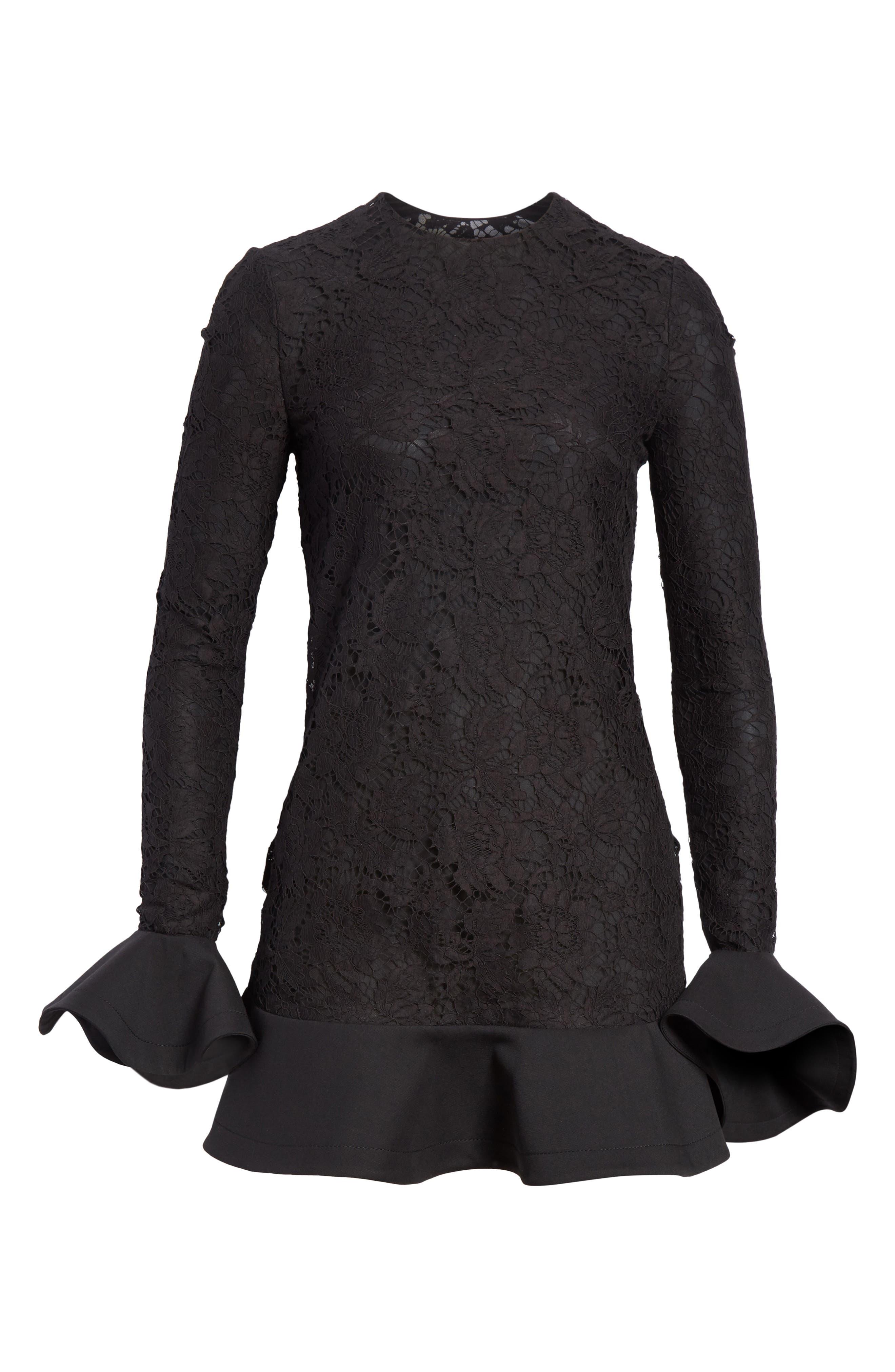 VALENTINO, Ruffle Hem Lace Dress, Alternate thumbnail 7, color, BLACK