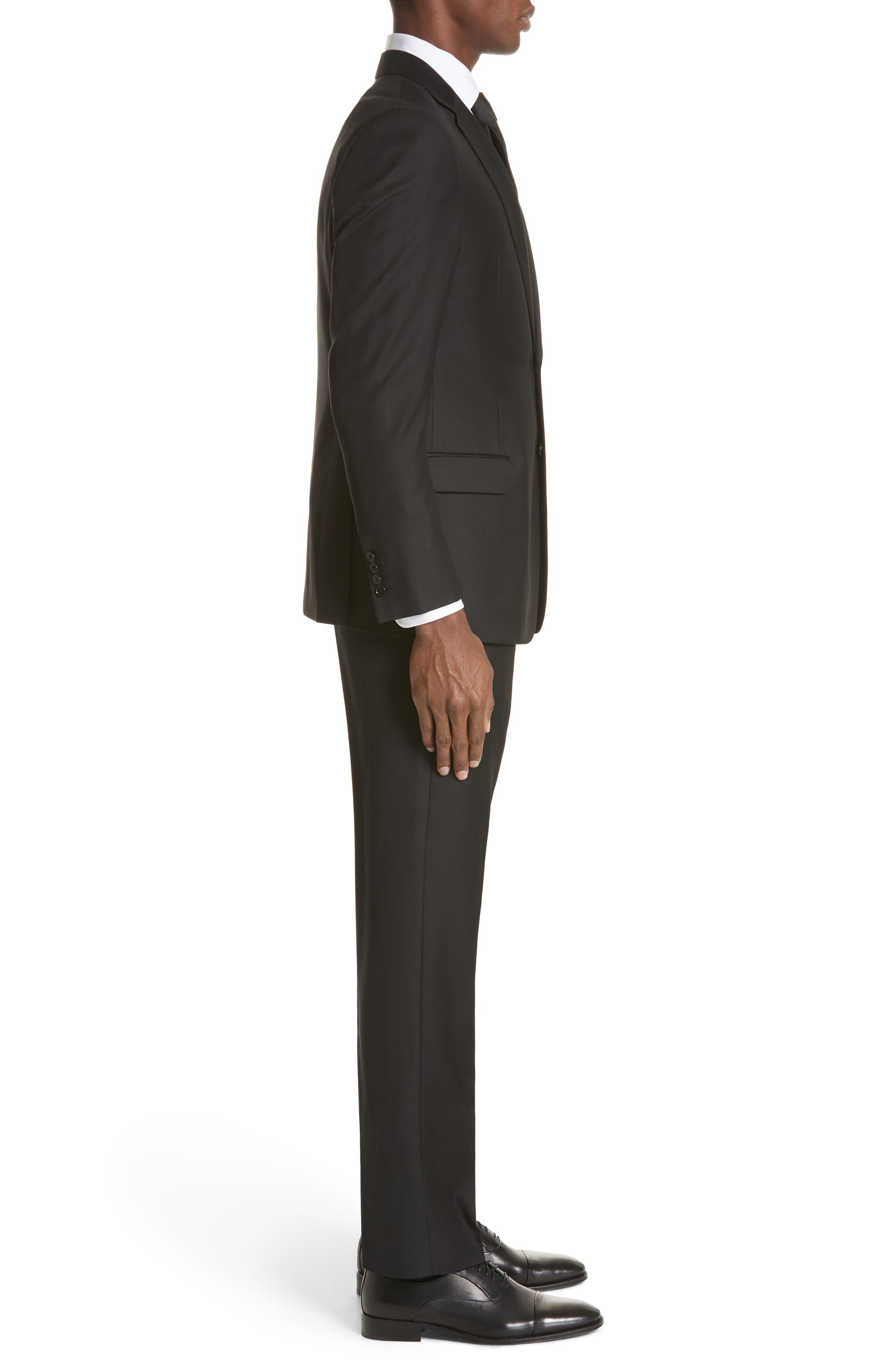 EMPORIO ARMANI, Trim Fit Solid Wool Suit, Alternate thumbnail 3, color, BLACK