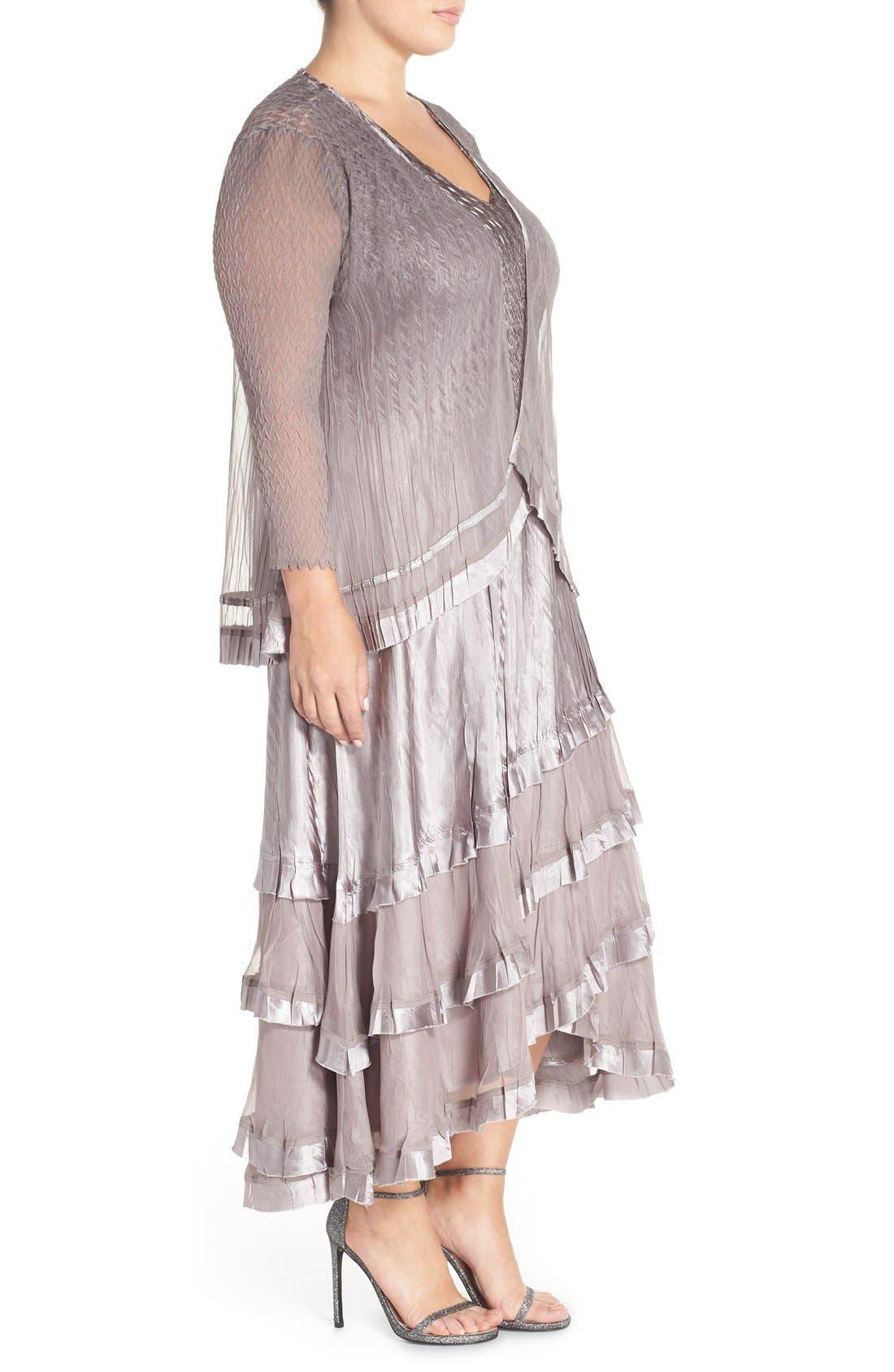 KOMAROV, Charmeuse Tiered Hem Dress with Chiffon Jacket, Alternate thumbnail 6, color, OYSTER SMOKE OMBRE