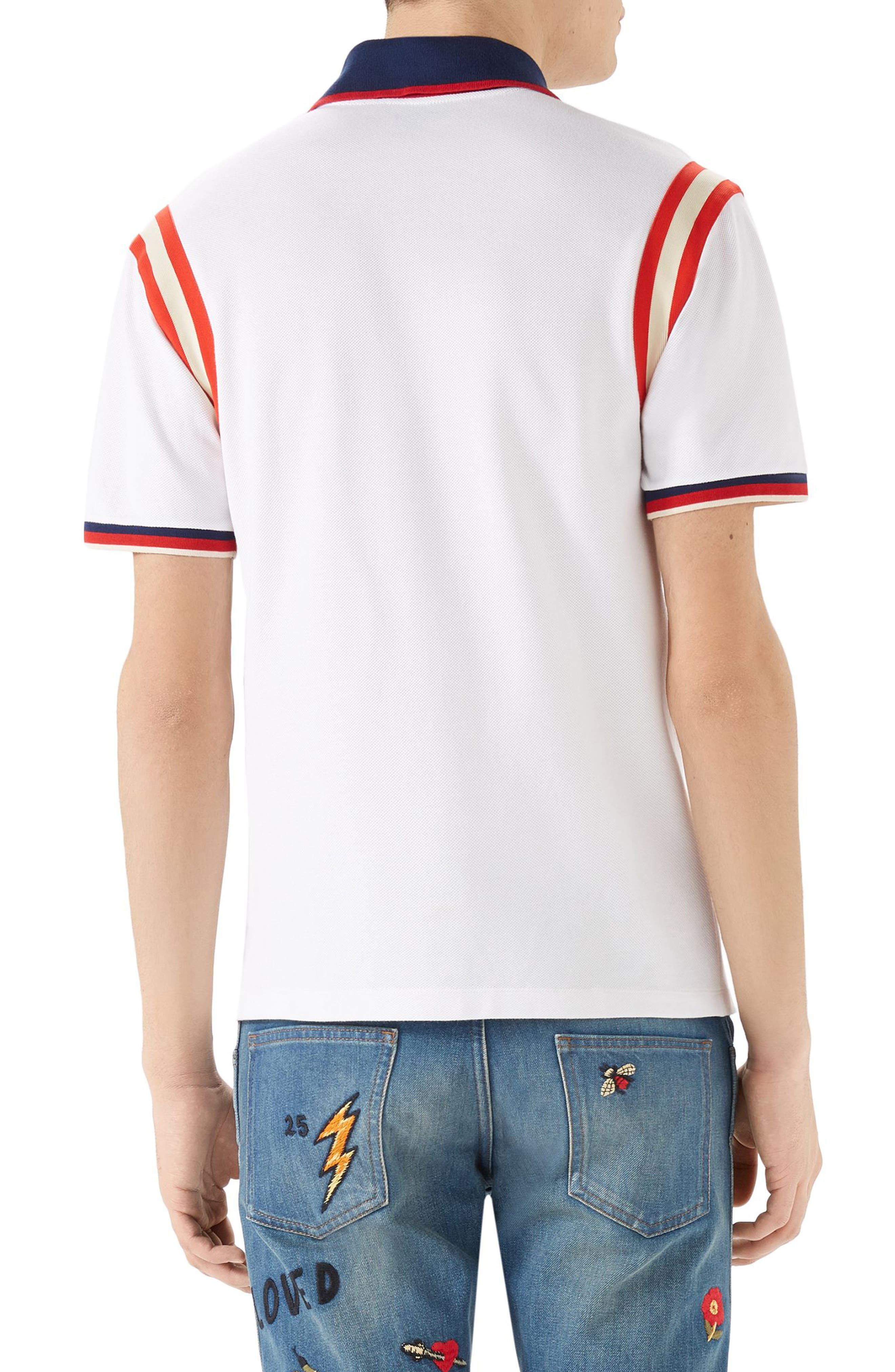 GUCCI, Stripe Sleeve Bee Polo, Alternate thumbnail 2, color, 100