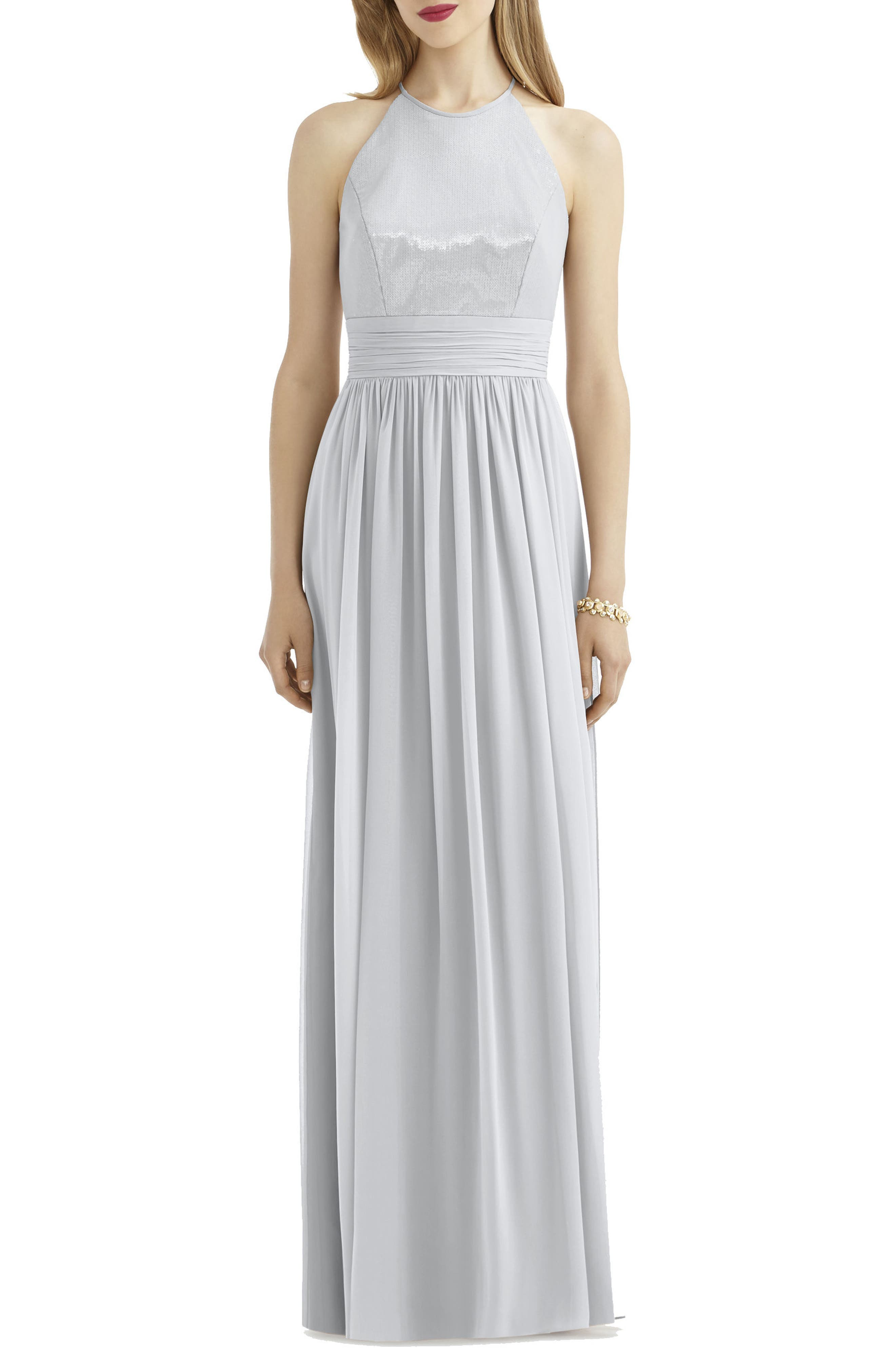 AFTER SIX, Sequin Open Back Chiffon Gown, Main thumbnail 1, color, FROST
