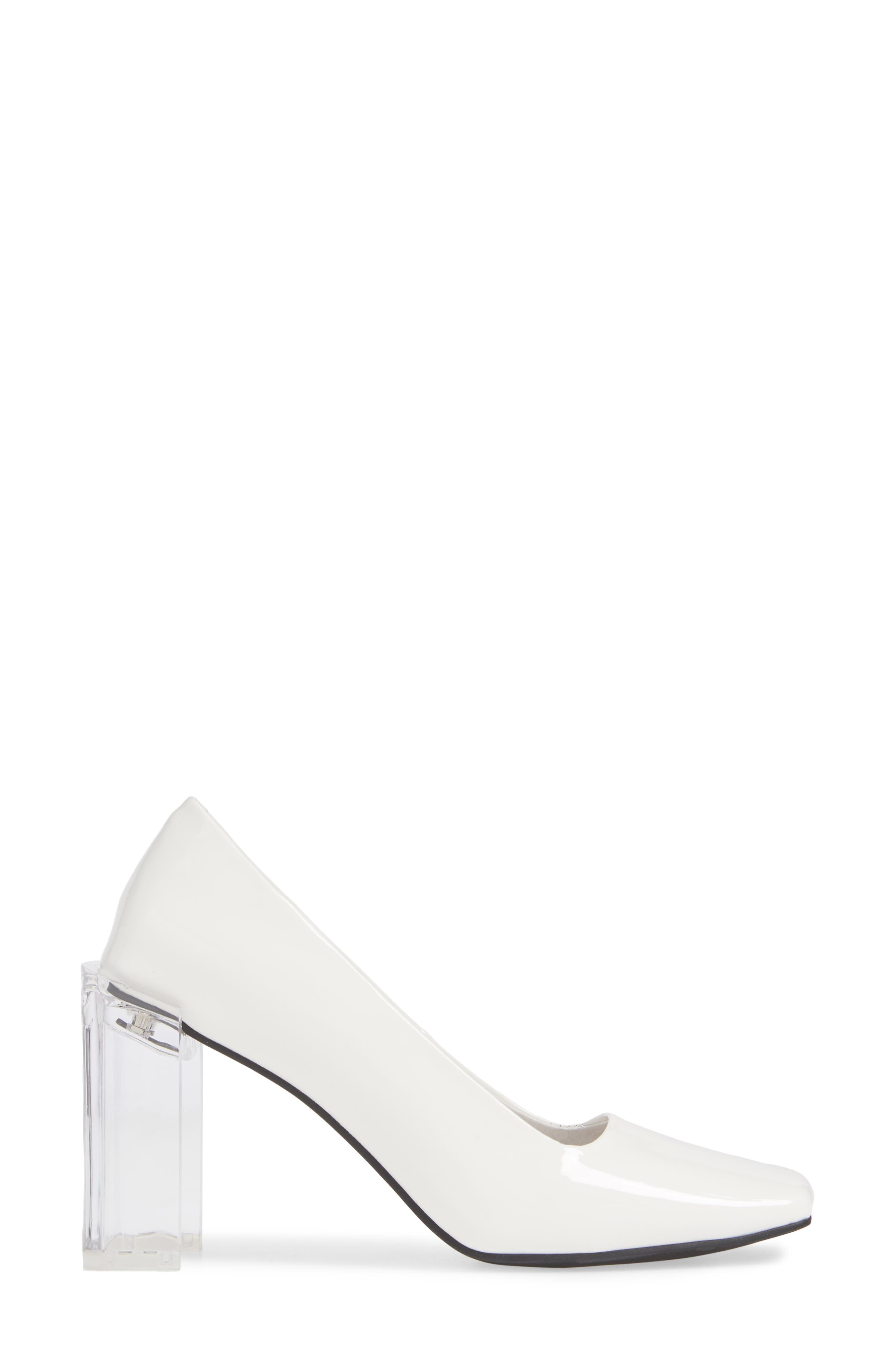 JEFFREY CAMPBELL, Graff Clear Heel Pump, Alternate thumbnail 3, color, WHITE PATENT LEATHER