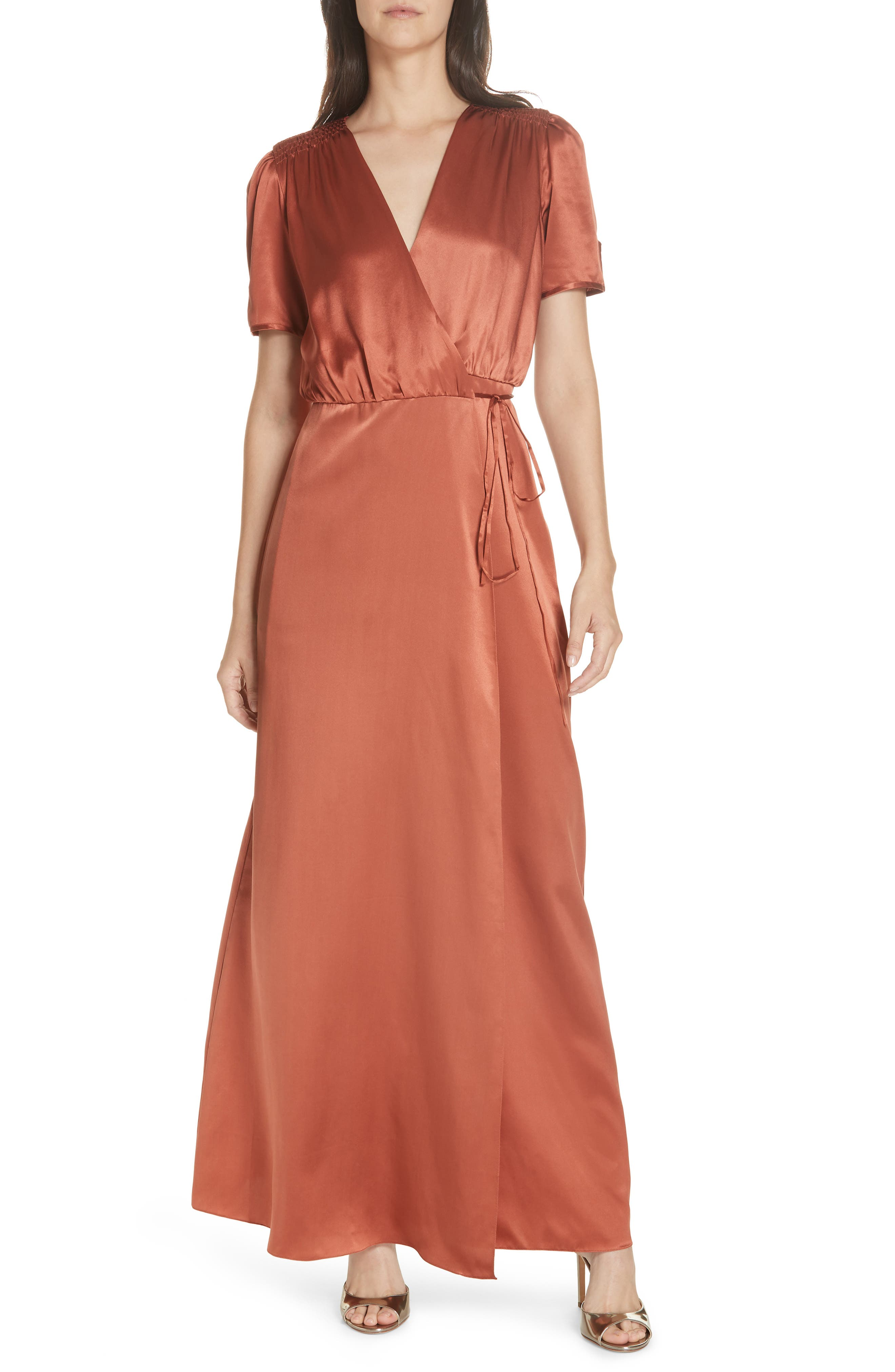 SALONI, Lea Silk Wrap Dress, Main thumbnail 1, color, DEEP RUSH