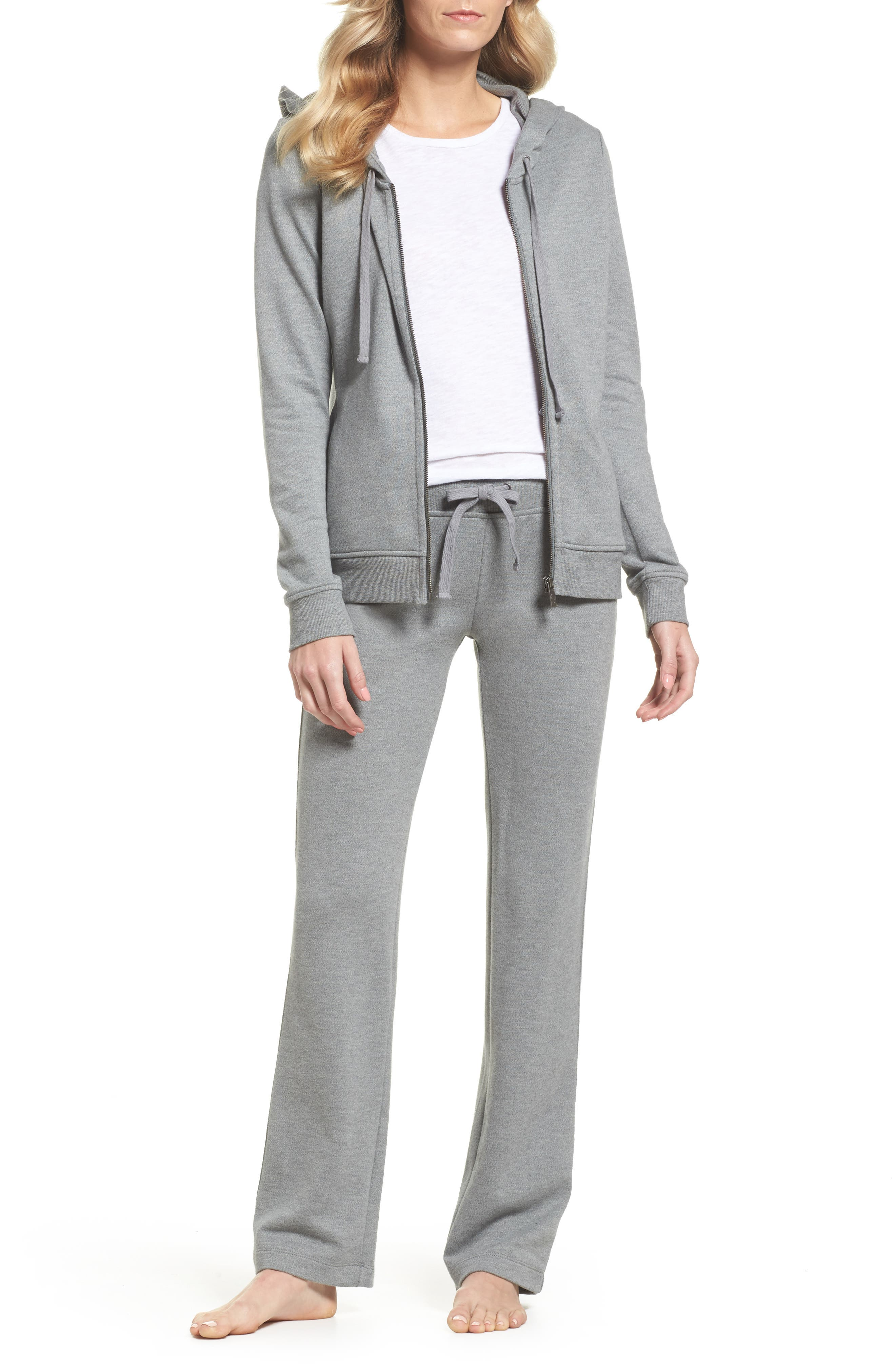 UGG<SUP>®</SUP>, Clara Zip Hoodie, Alternate thumbnail 7, color, GREY HEATHER