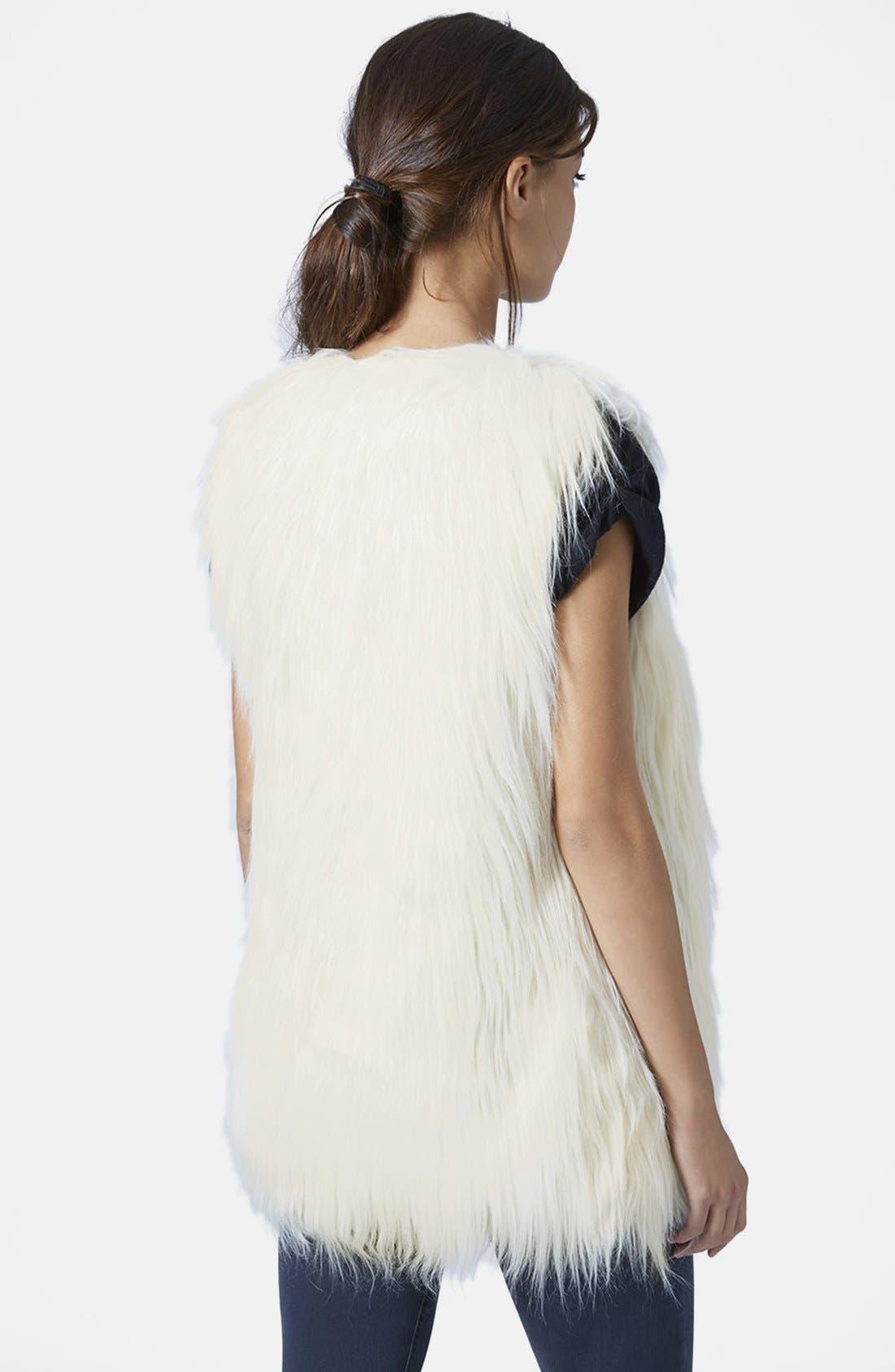 TOPSHOP, Faux Fur Gilet Vest, Alternate thumbnail 2, color, 900