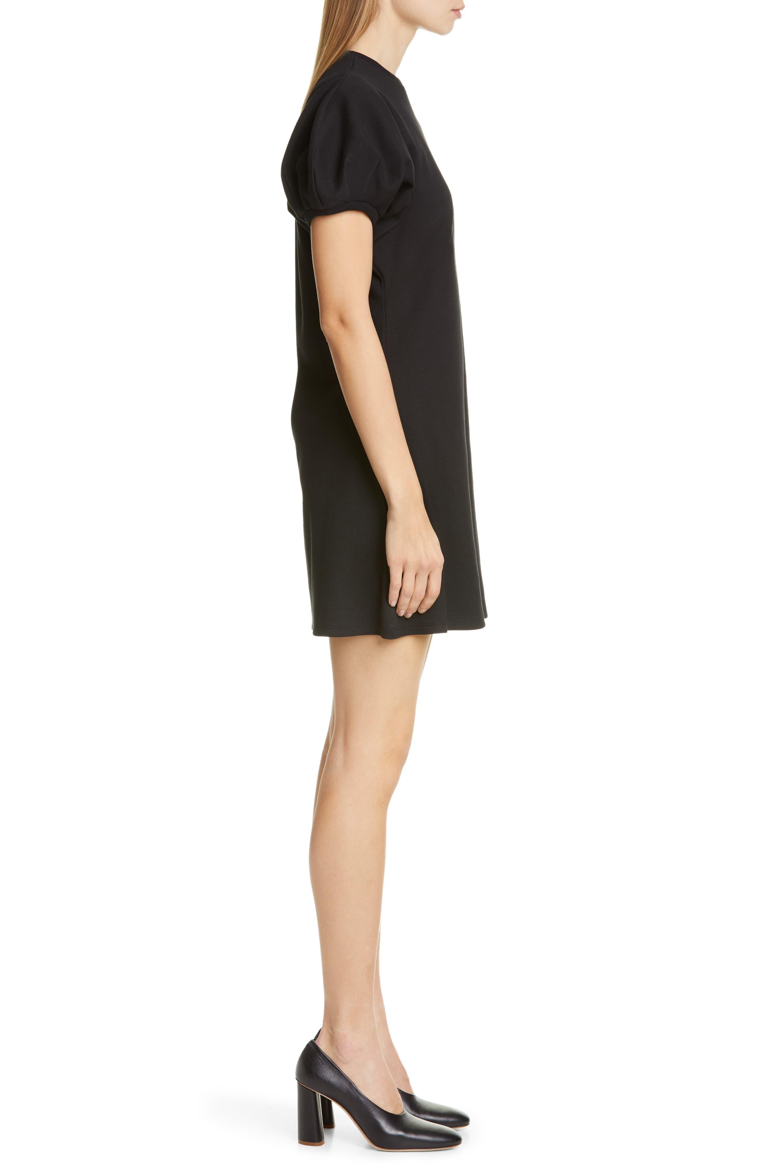 BEAUFILLE, Leda Puff Sleeve Dress, Alternate thumbnail 3, color, BLACK