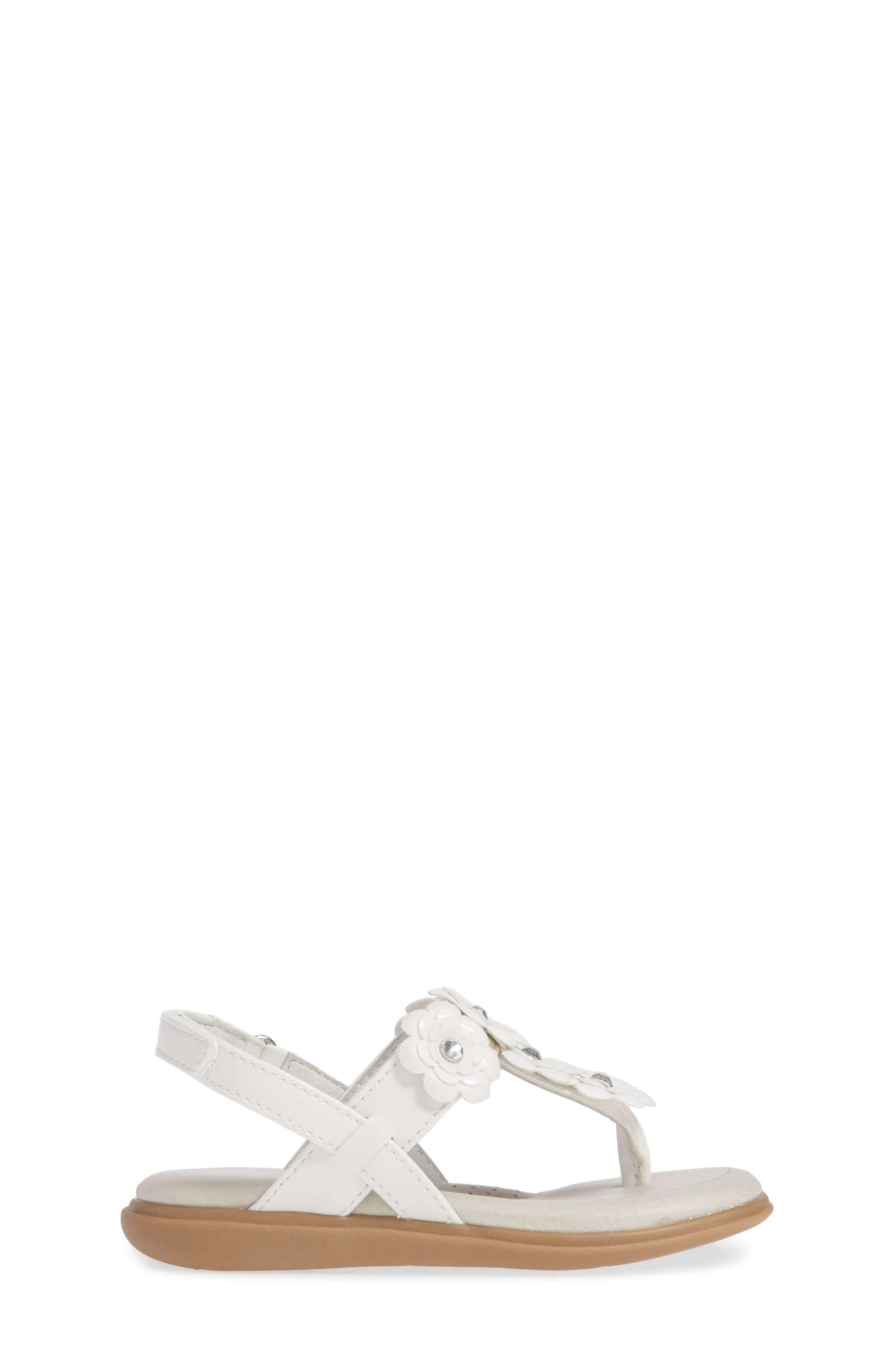 SOLE PLAY, Cora Floral Embellished Sandal, Alternate thumbnail 3, color, WHITE
