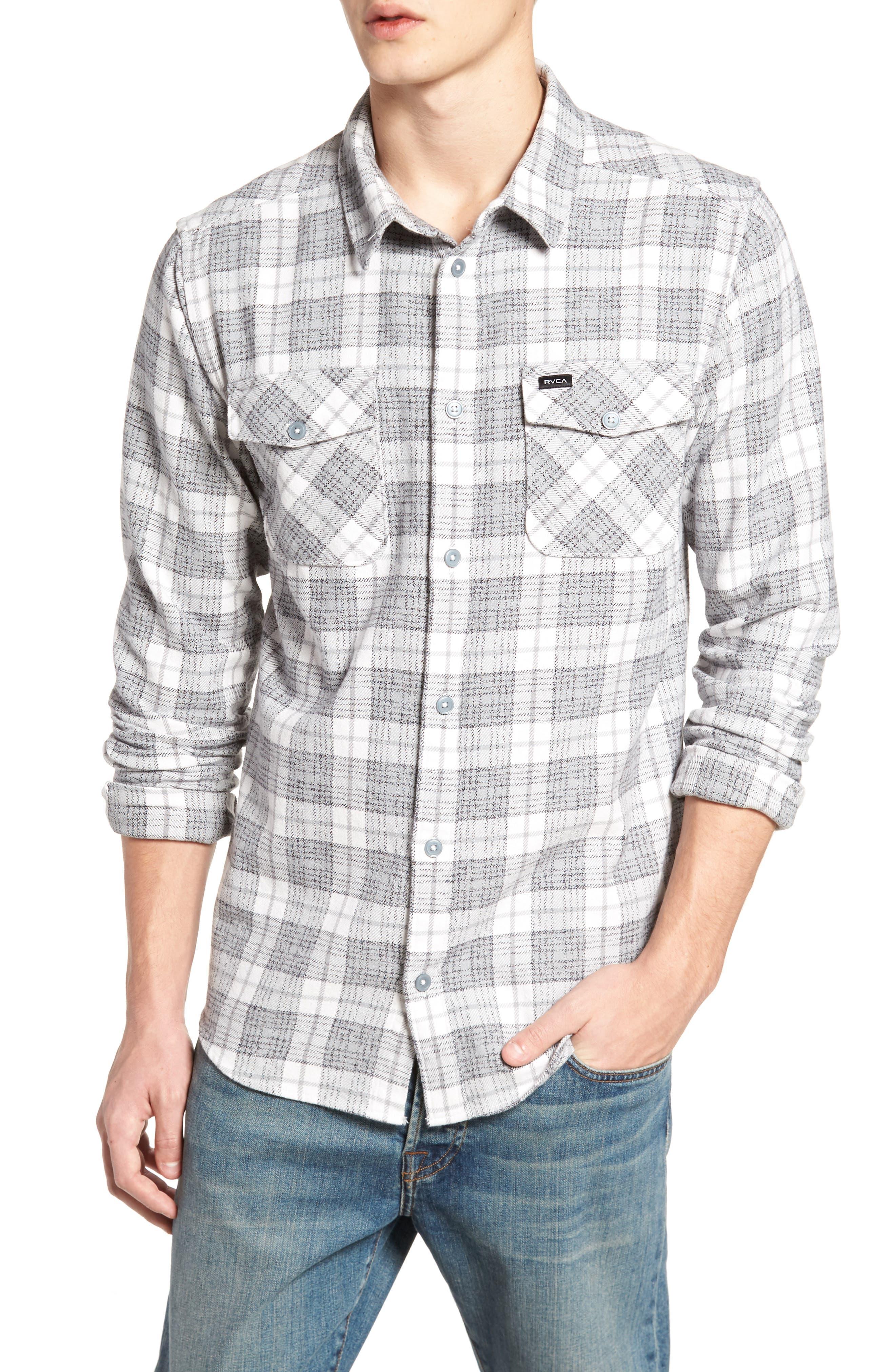 RVCA, 'That'll Work' Trim Fit Plaid Flannel Shirt, Main thumbnail 1, color, ANTIQUE WHITE