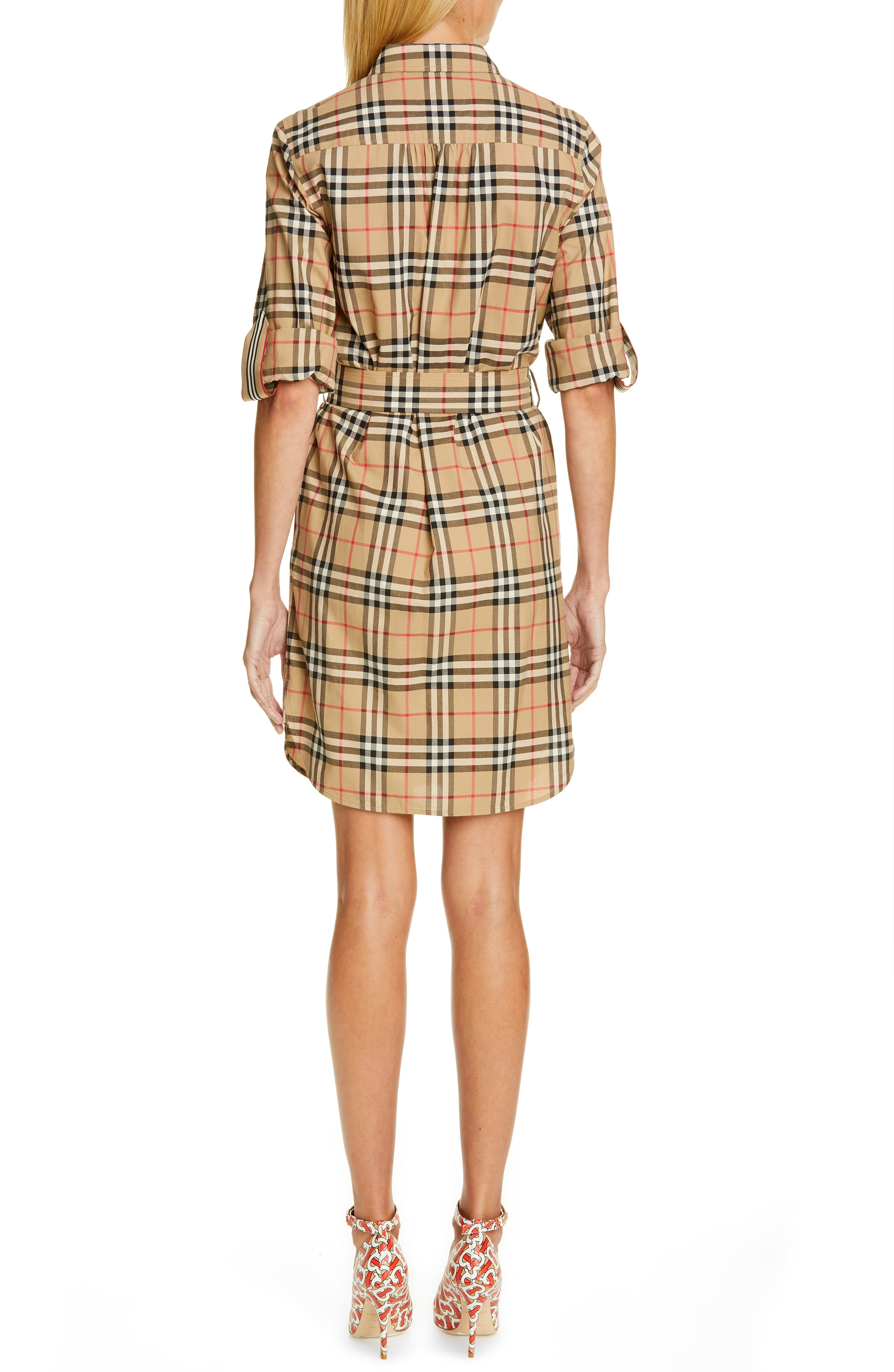 BURBERRY, Giovanna Archive Check Shirtdress, Alternate thumbnail 2, color, ARCHIVE BEIGE IP CHK