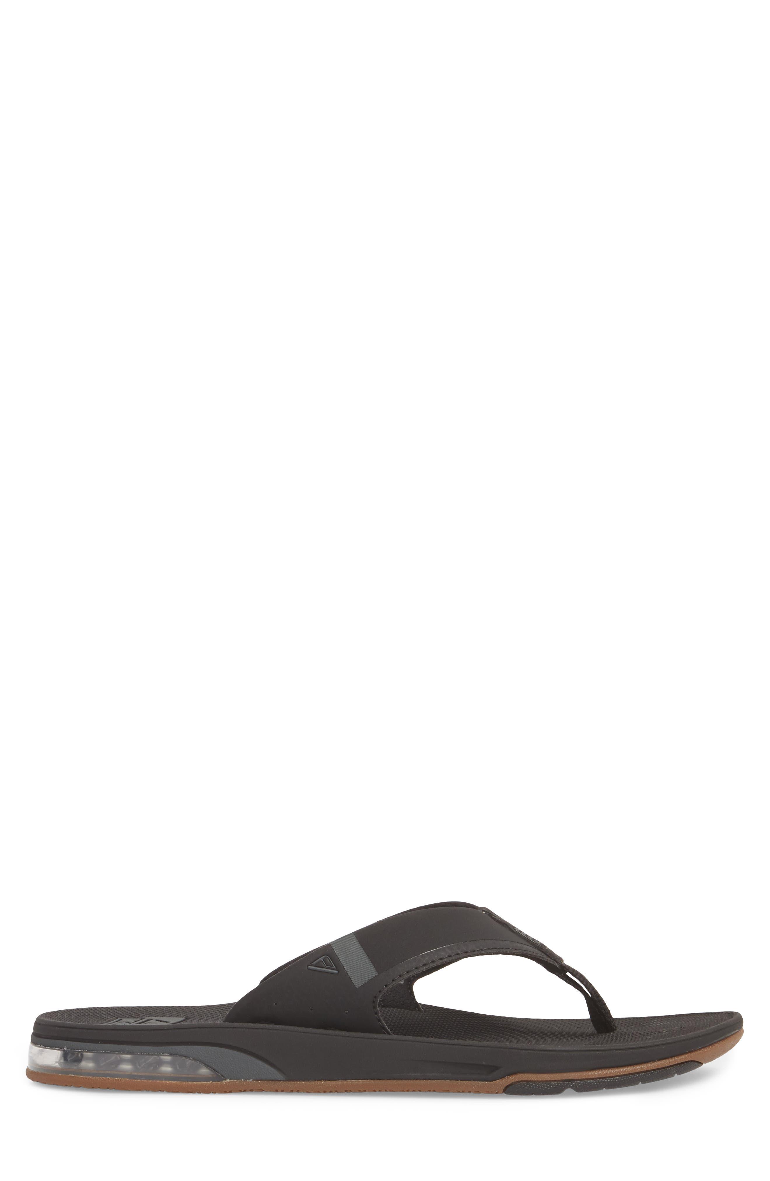 REEF, Fanning Low Flip Flop, Alternate thumbnail 3, color, BLACK