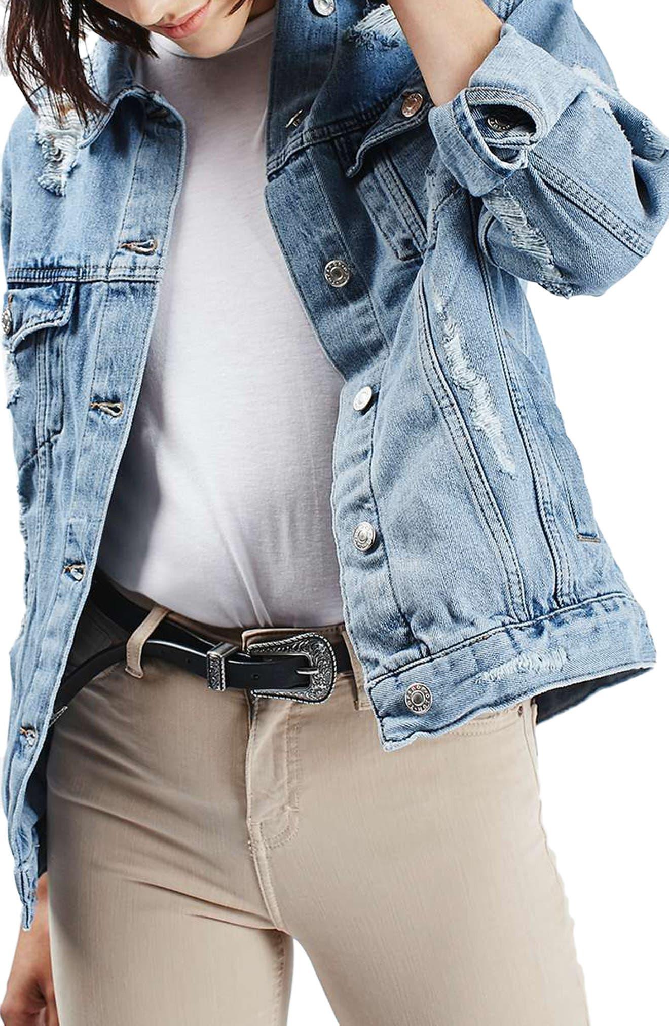 TOPSHOP, Moto Ripped Oversize Denim Jacket, Main thumbnail 1, color, 400