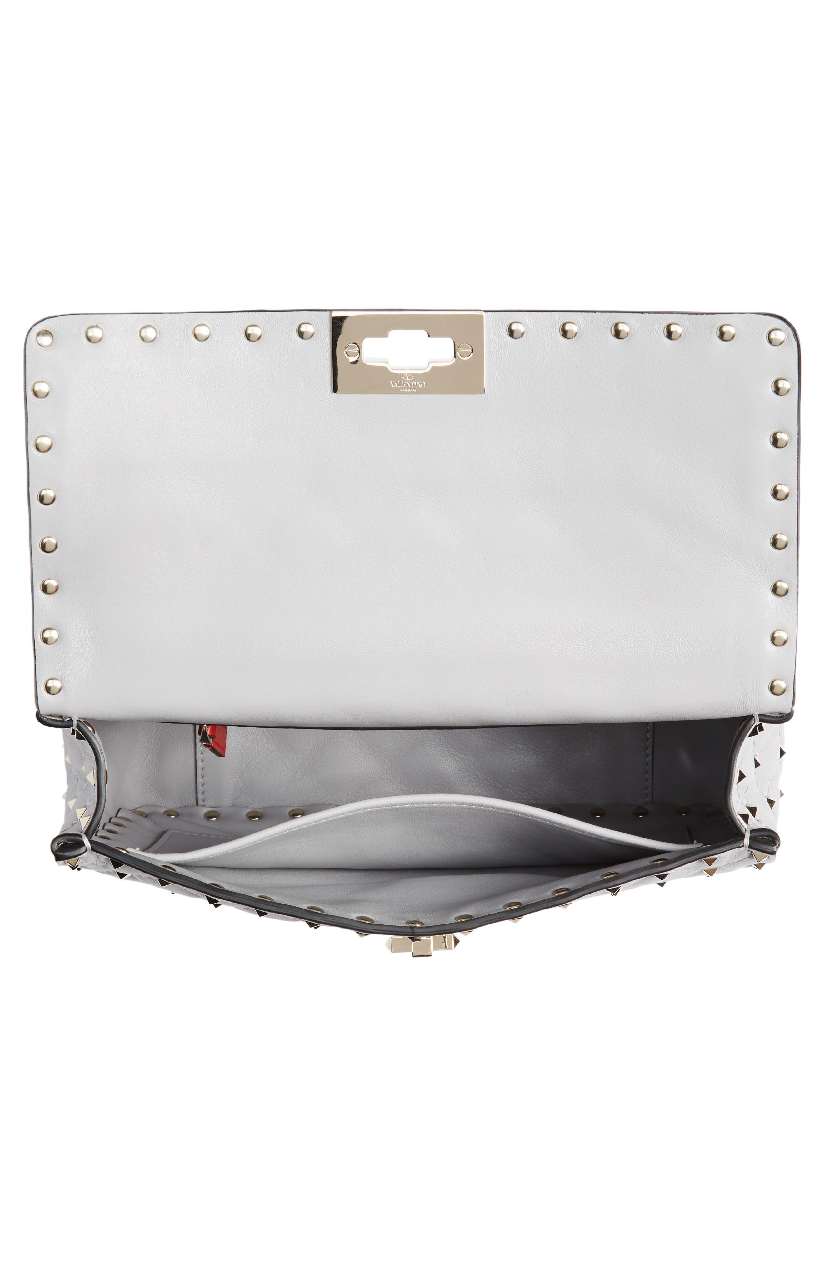 VALENTINO GARAVANI, Medium Rockstud Matelassé Quilted Leather Crossbody Bag, Alternate thumbnail 6, color, PASTEL GREY