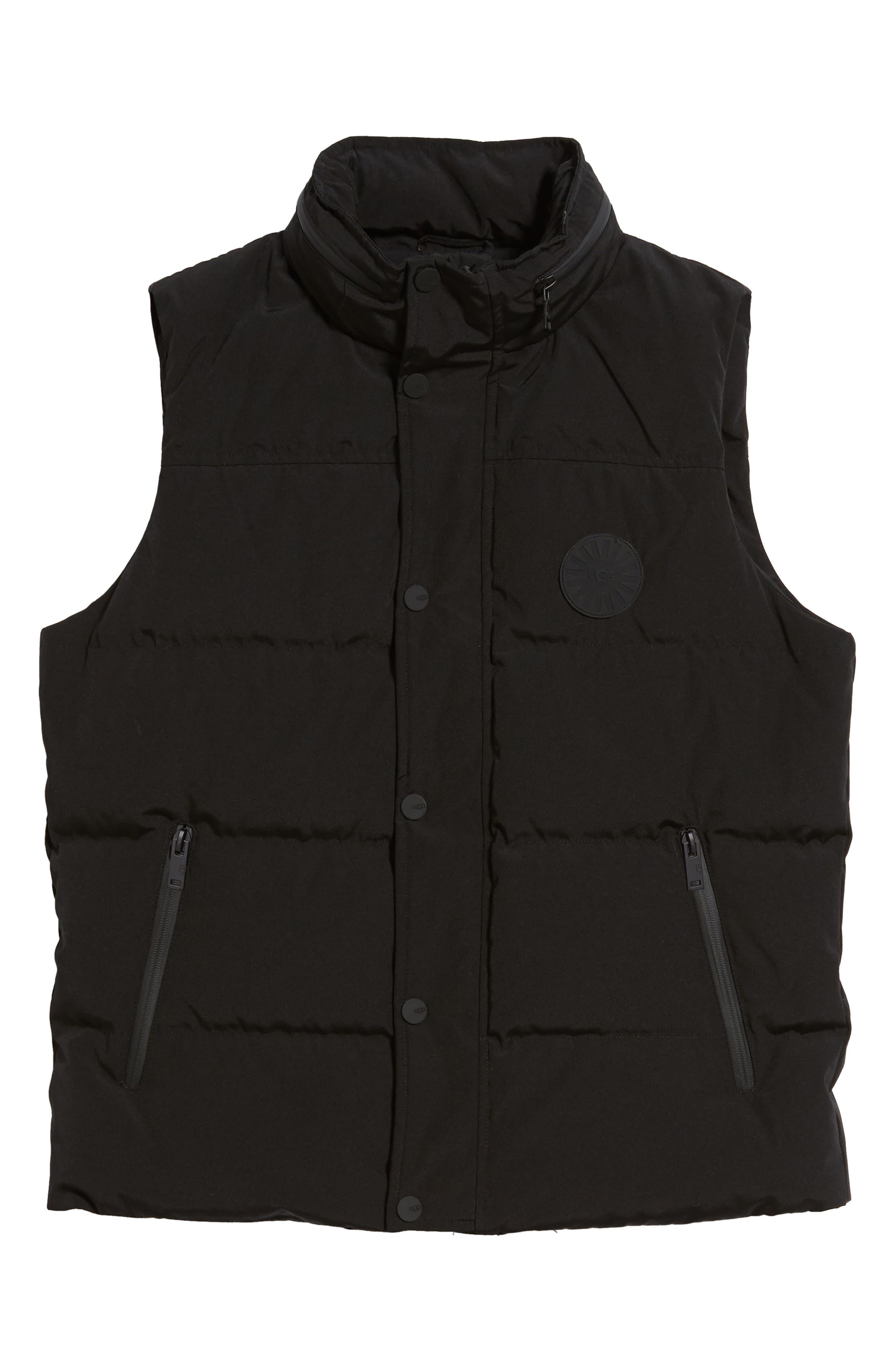 UGG<SUP>®</SUP>, Nathaniel Down Vest, Alternate thumbnail 6, color, BLACK