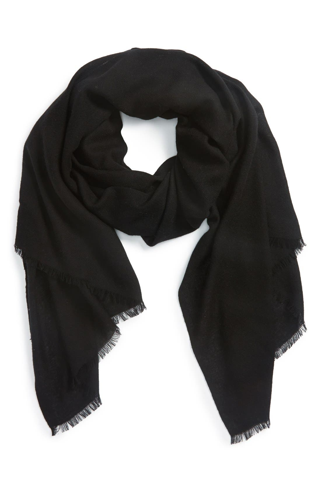 NORDSTROM, Wool & Cashmere Wrap, Main thumbnail 1, color, 001