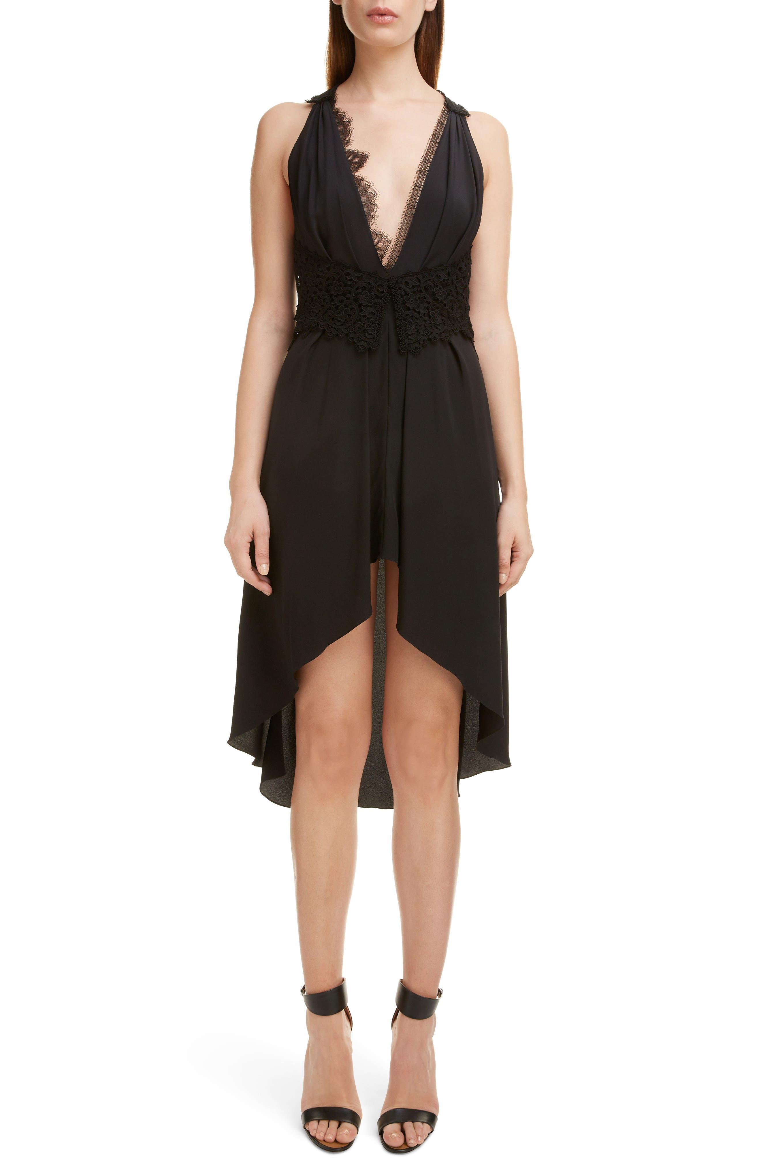 VICTORIA BECKHAM, Mixed Lace Trim High/Low Silk Dress, Alternate thumbnail 6, color, BLACK