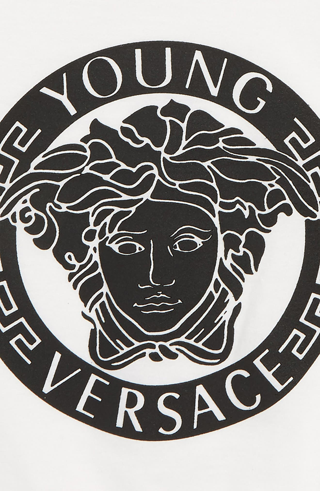 VERSACE, Medusa Logo T-Shirt, Alternate thumbnail 2, color, 100