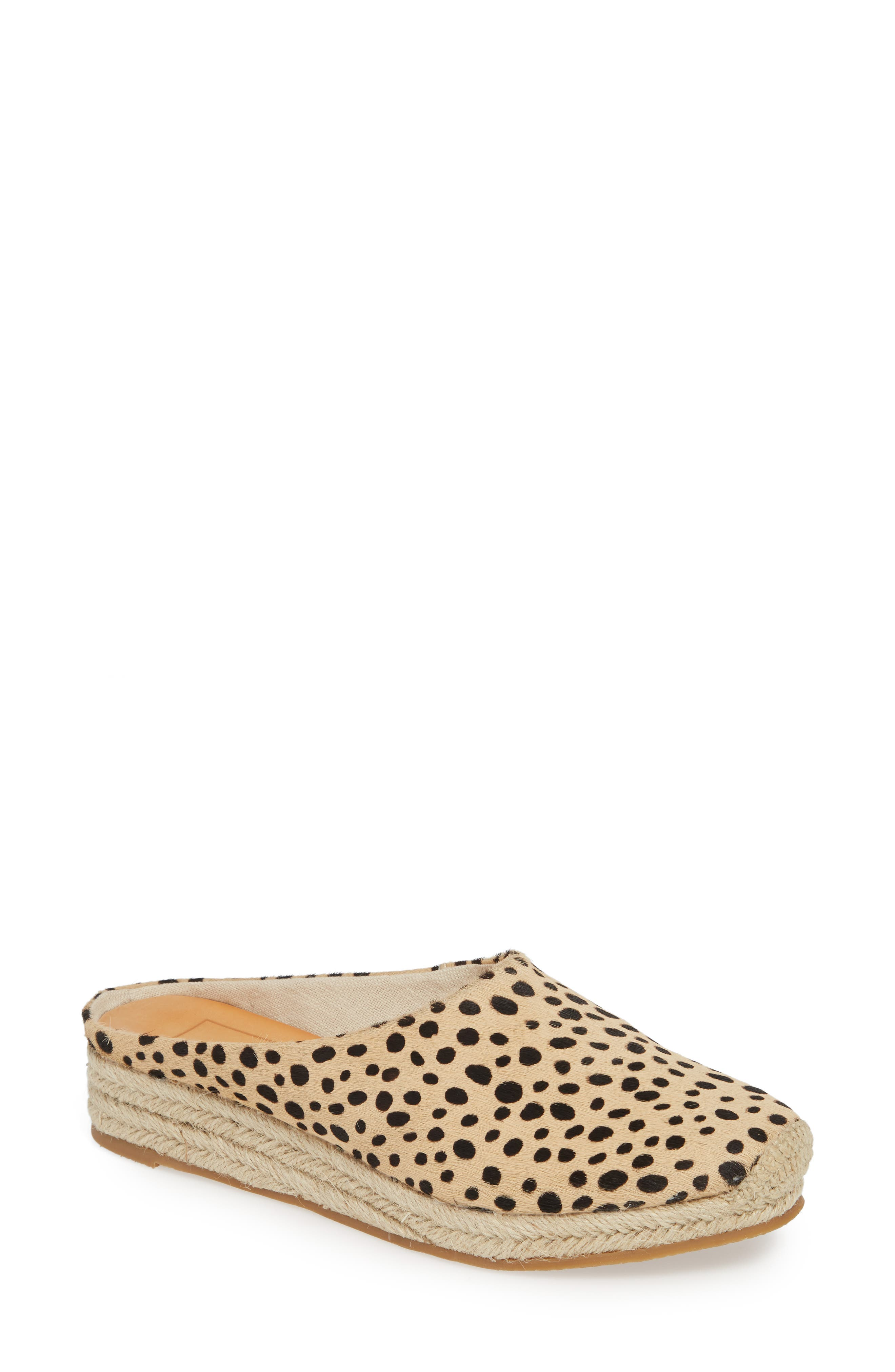 DOLCE VITA, Brandi Genuine Calf Hair Espadrille Mule, Main thumbnail 1, color, LEOPARD PRINT CALF HAIR