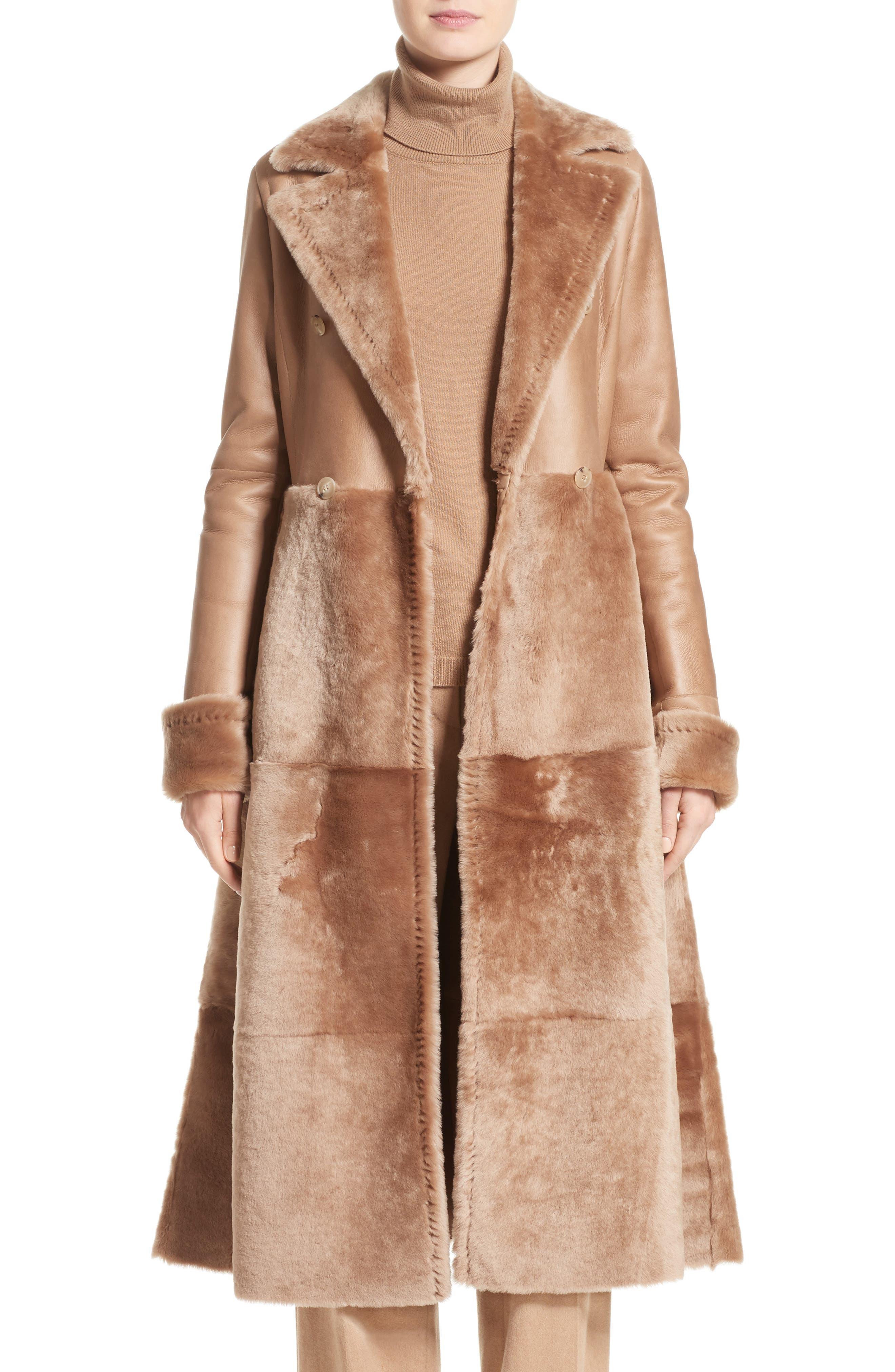 MAX MARA, Rimini Genuine Shearling Coat, Main thumbnail 1, color, CAMEL