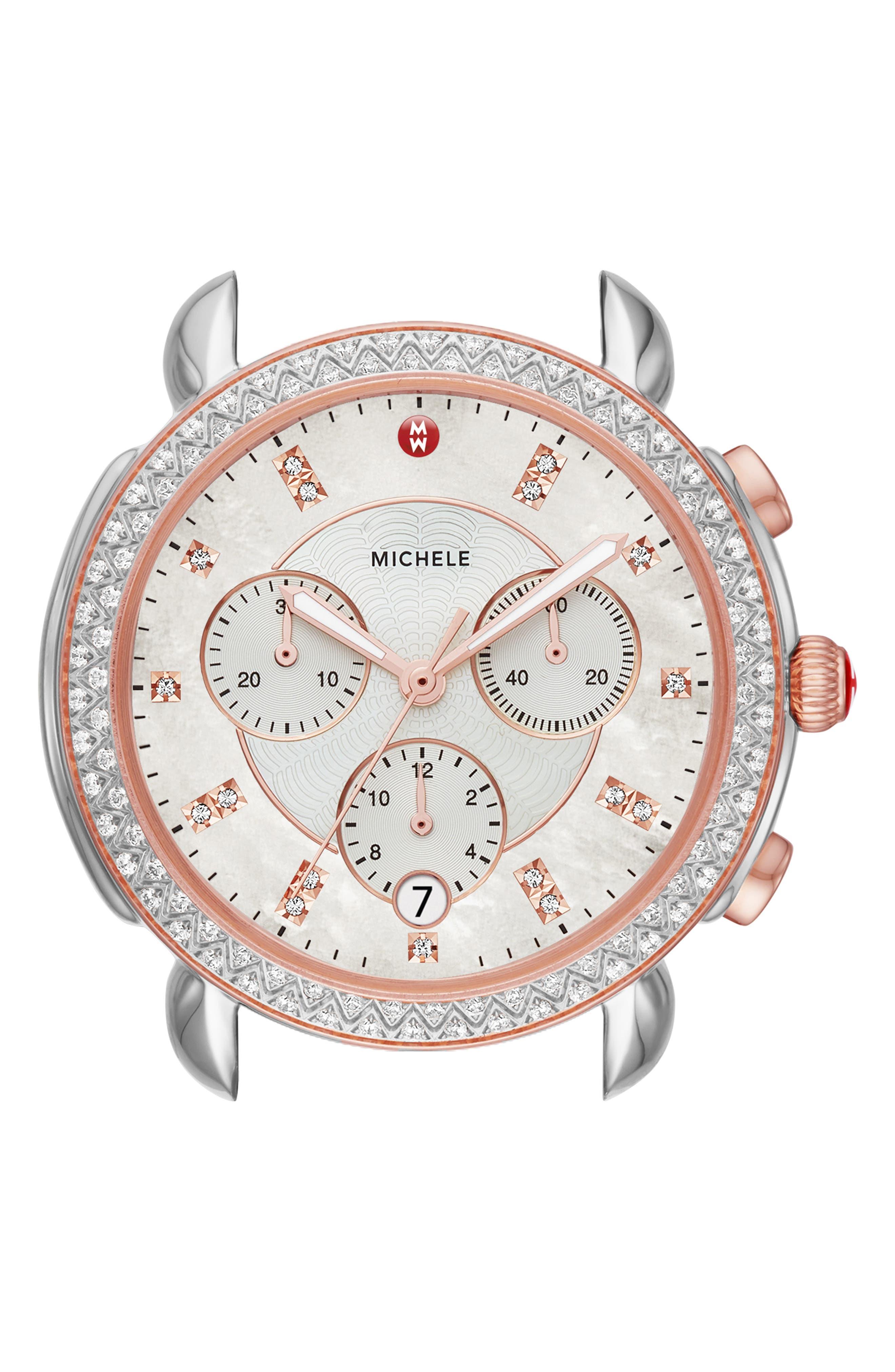 MICHELE, Sidney Chrono Diamond Diamond Dial Watch Case, 38mm, Alternate thumbnail 3, color, ROSE GOLD/ MOP/ SILVER