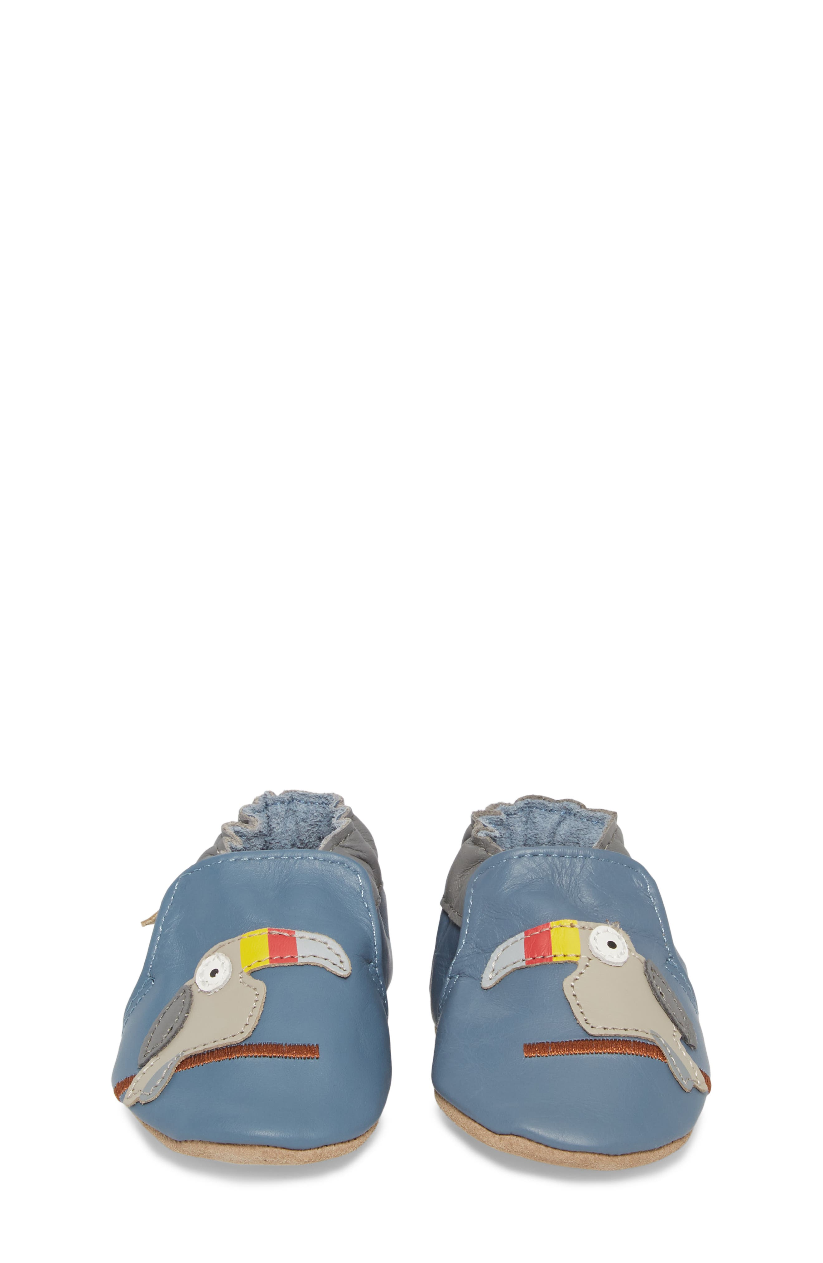 ROBEEZ<SUP>®</SUP>, Toucan Tom Moccasin Crib Shoe, Alternate thumbnail 4, color, 450