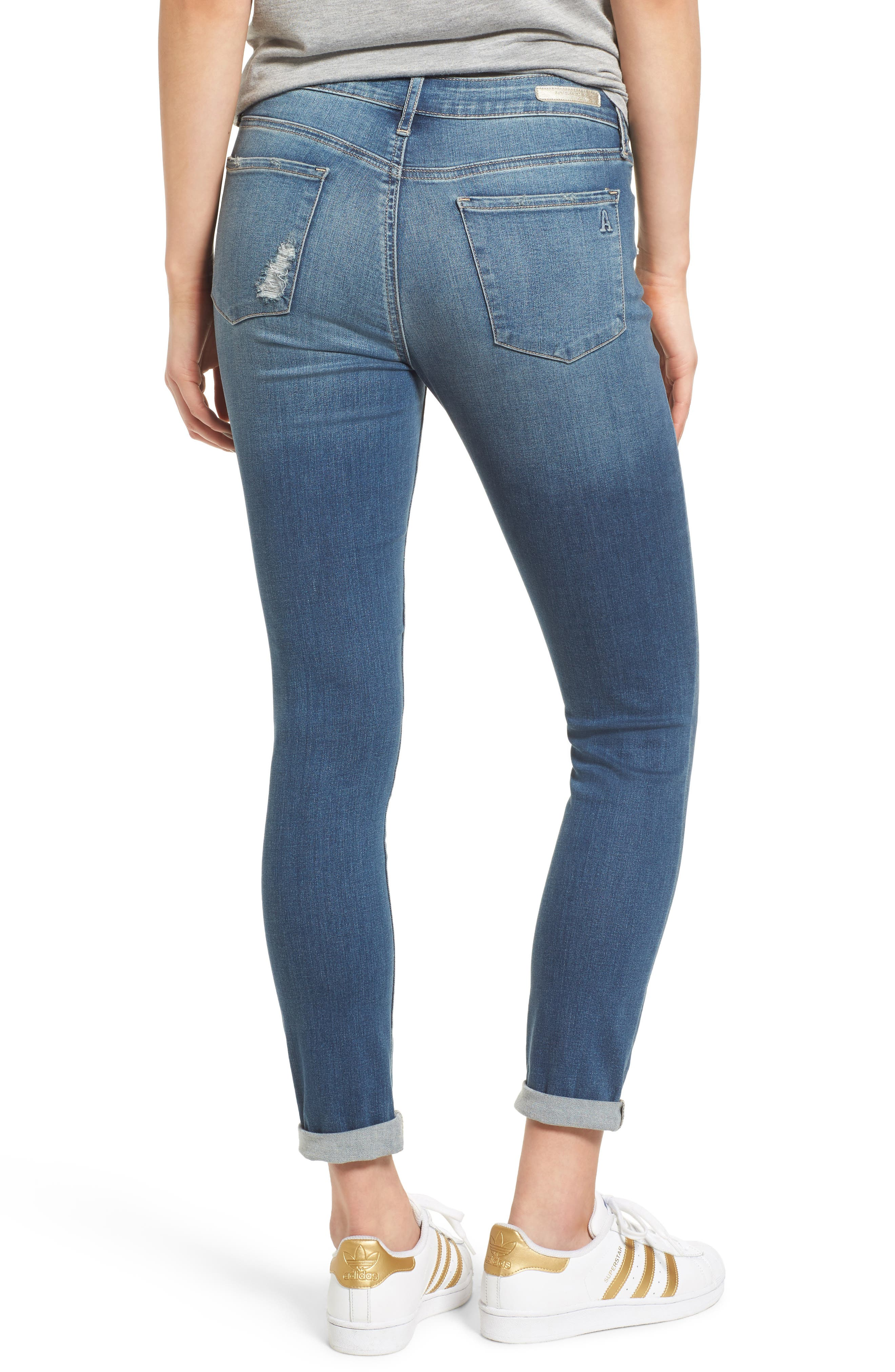 ARTICLES OF SOCIETY, Karen Ripped Crop Skinny Jeans, Alternate thumbnail 2, color, 400