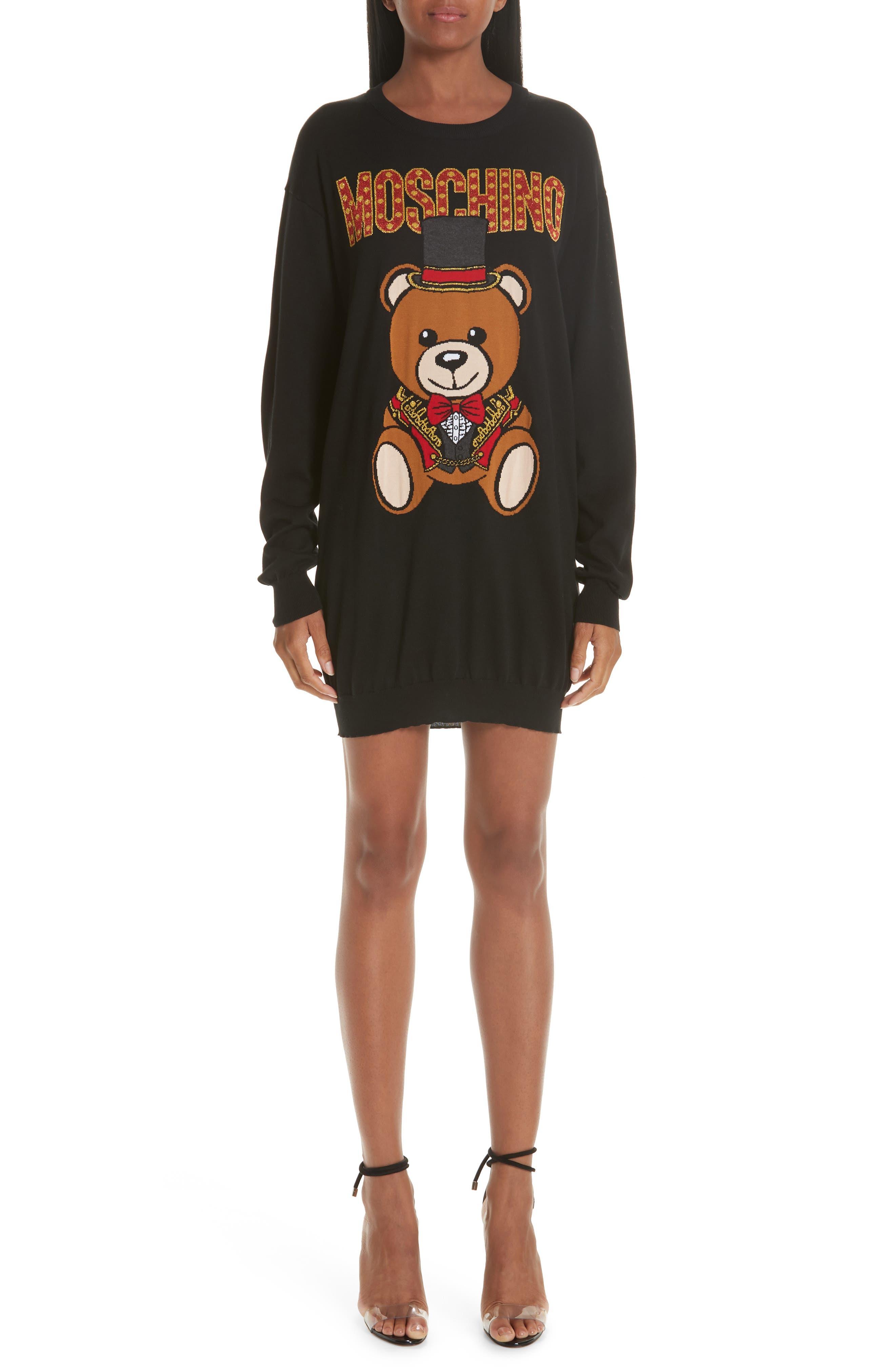 MOSCHINO, Circus Teddy Sweater Dress, Main thumbnail 1, color, BLACK