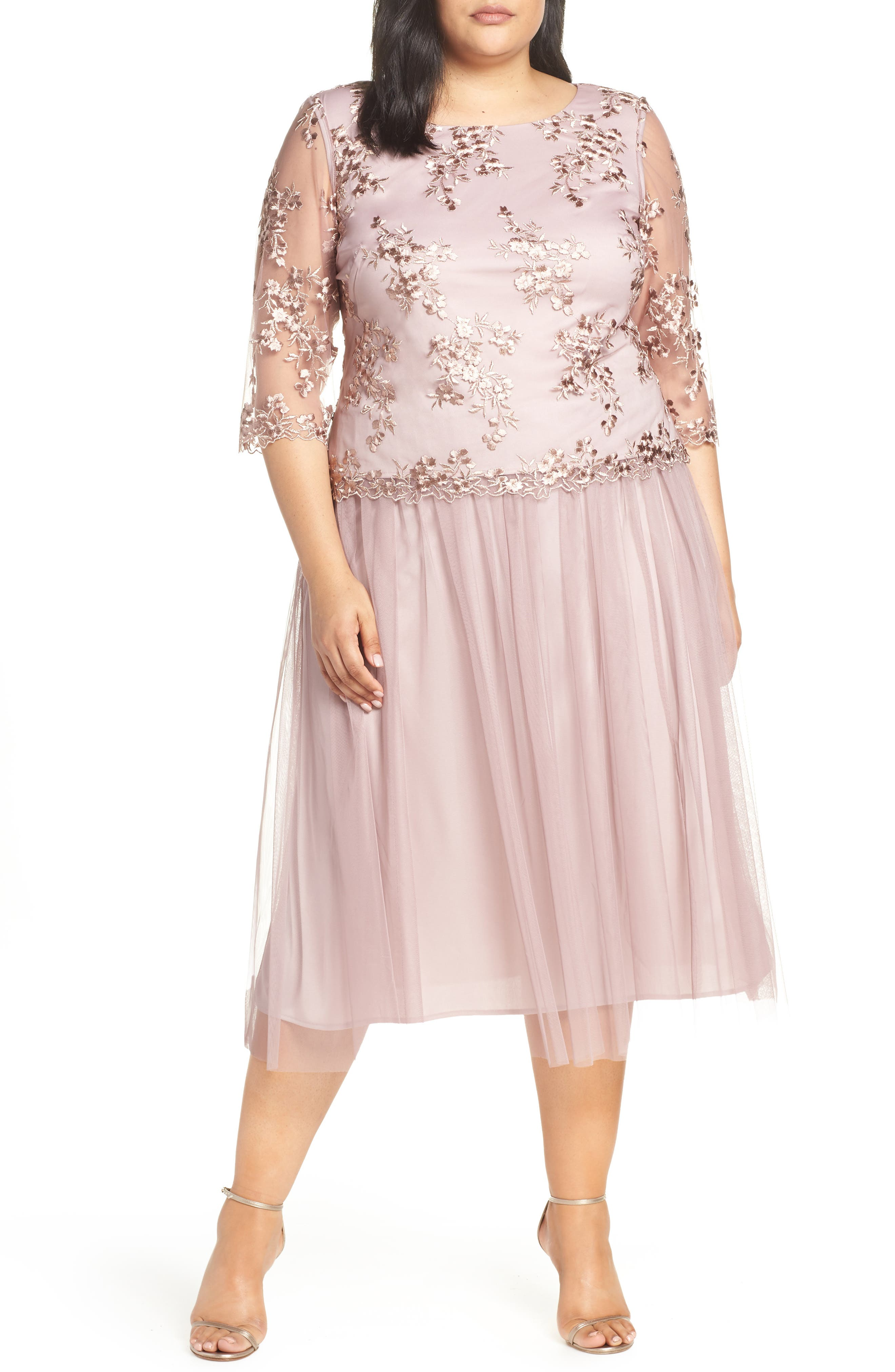 Plus Size Alex Evenings Mock Two-Piece Tea Length Dress, Pink