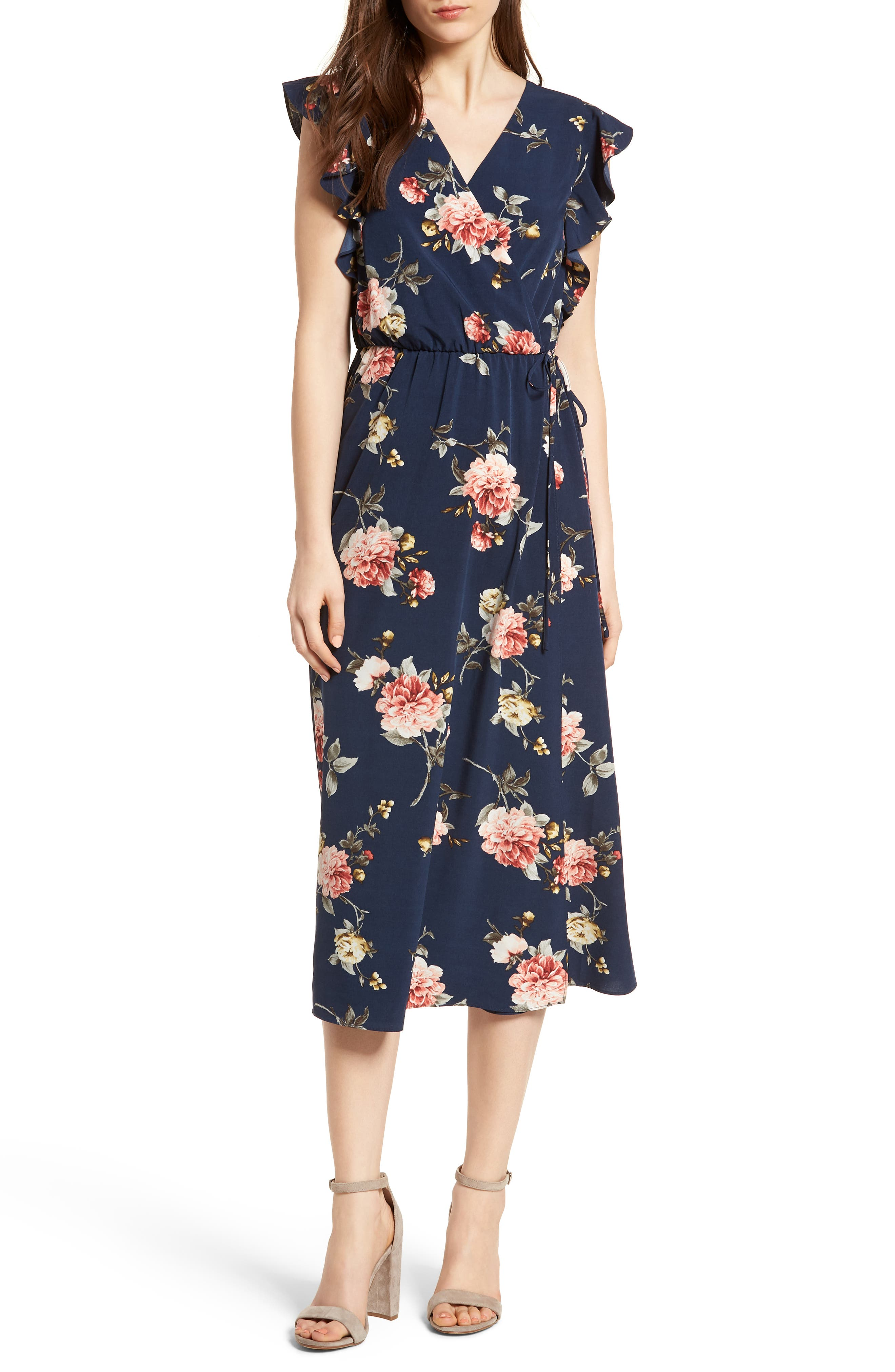 SOPRANO Wrap Midi Dress, Main, color, 400