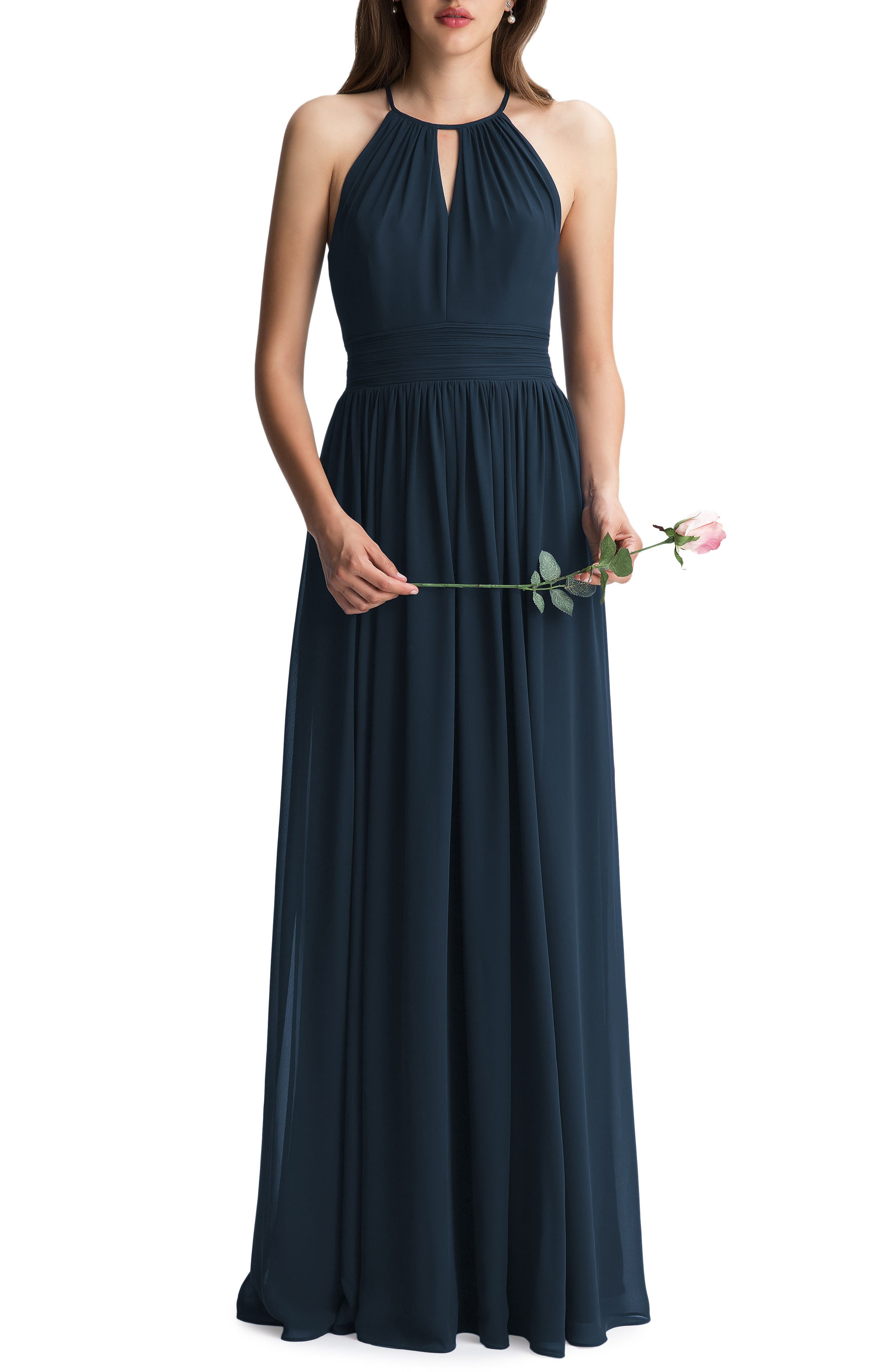 #LEVKOFF Keyhole Chiffon A-Line Gown, Main, color, NAVY