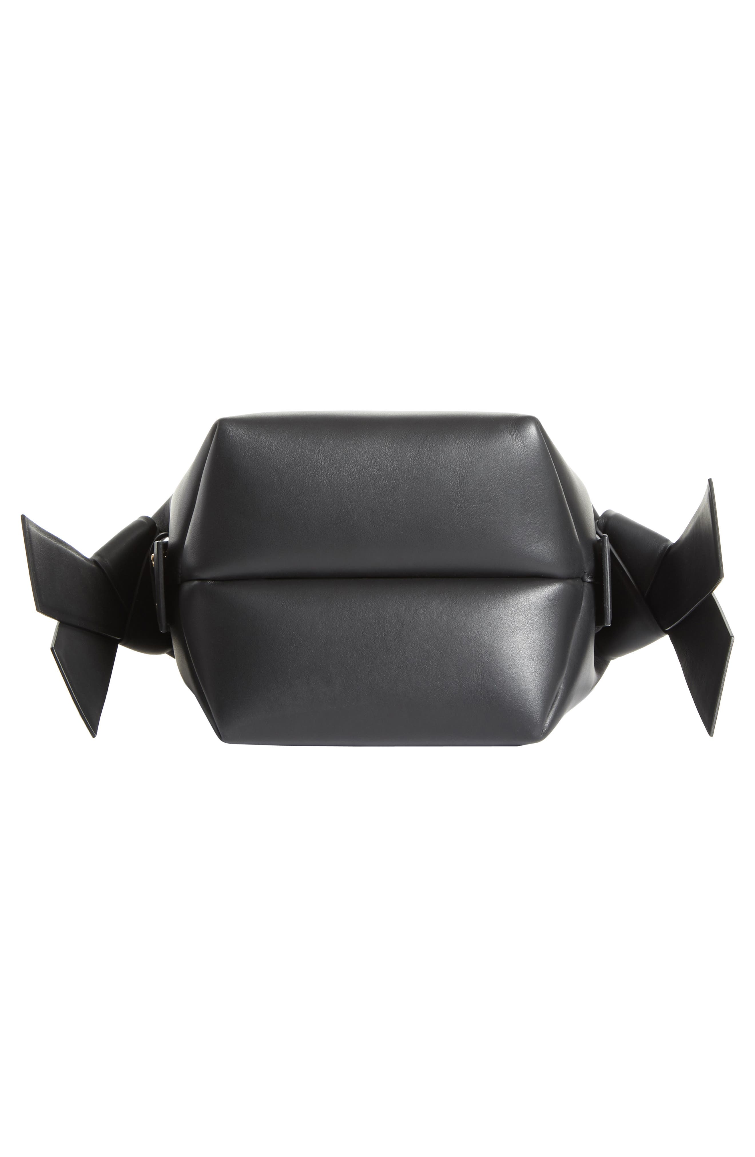ACNE STUDIOS, Musubi Leather Mini Bag, Alternate thumbnail 6, color, BLACK