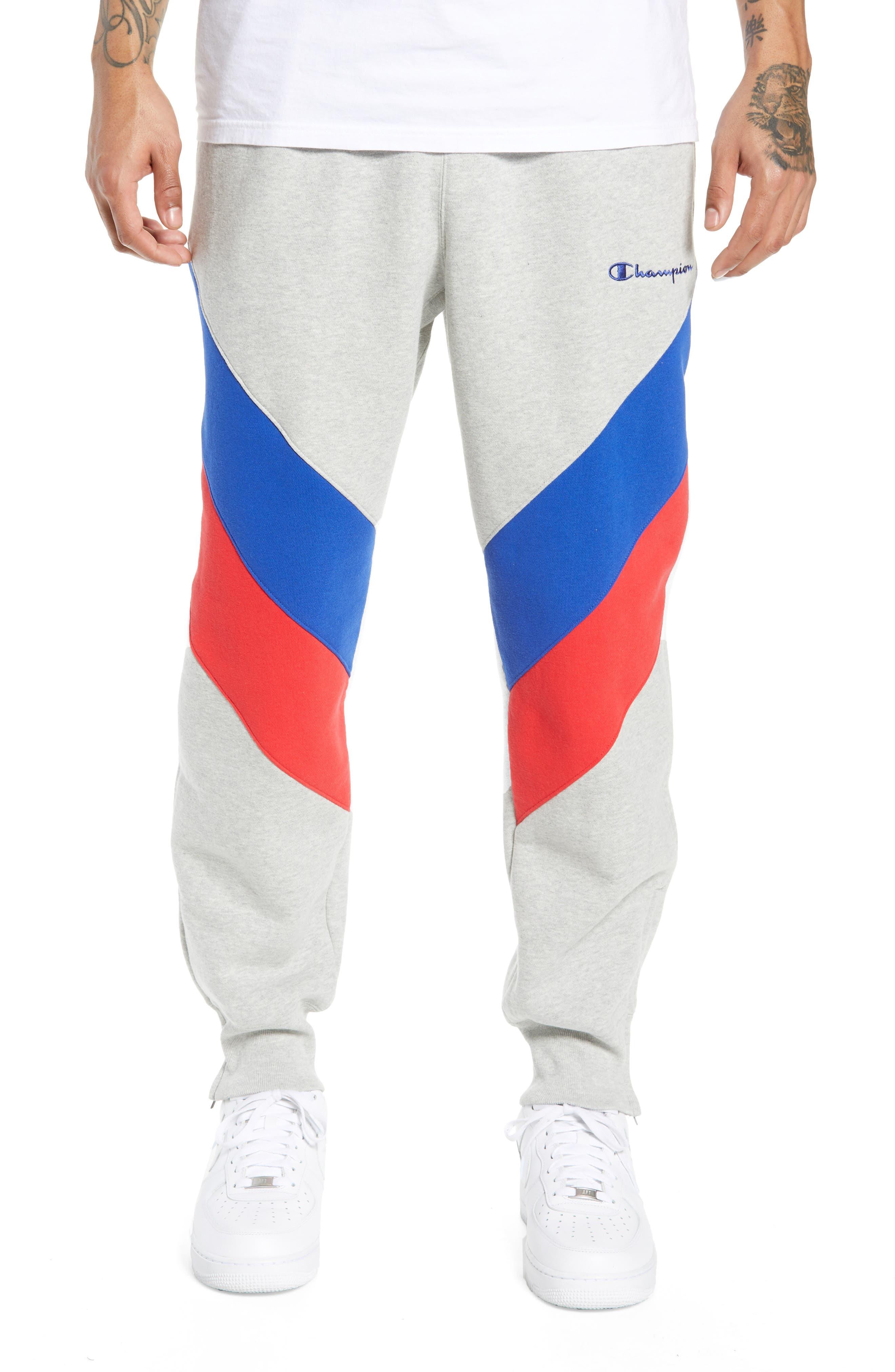 CHAMPION Colorblock Track Pants, Main, color, OXFORD GREY/ SURF/ SCARLET