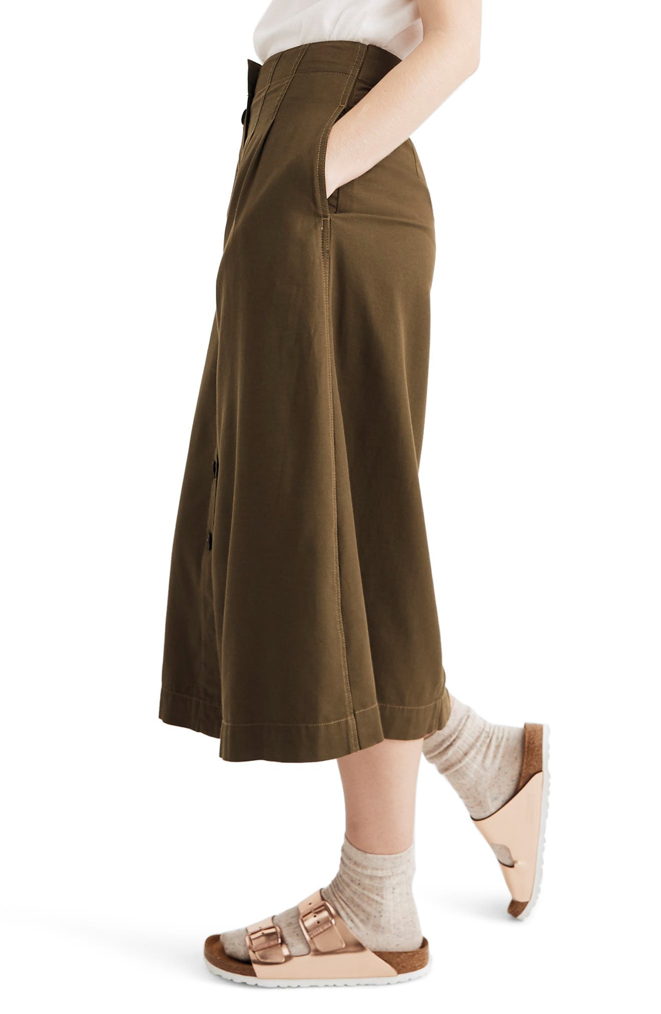 MADEWELL, Patio Button Front Midi Skirt, Alternate thumbnail 3, color, KALE