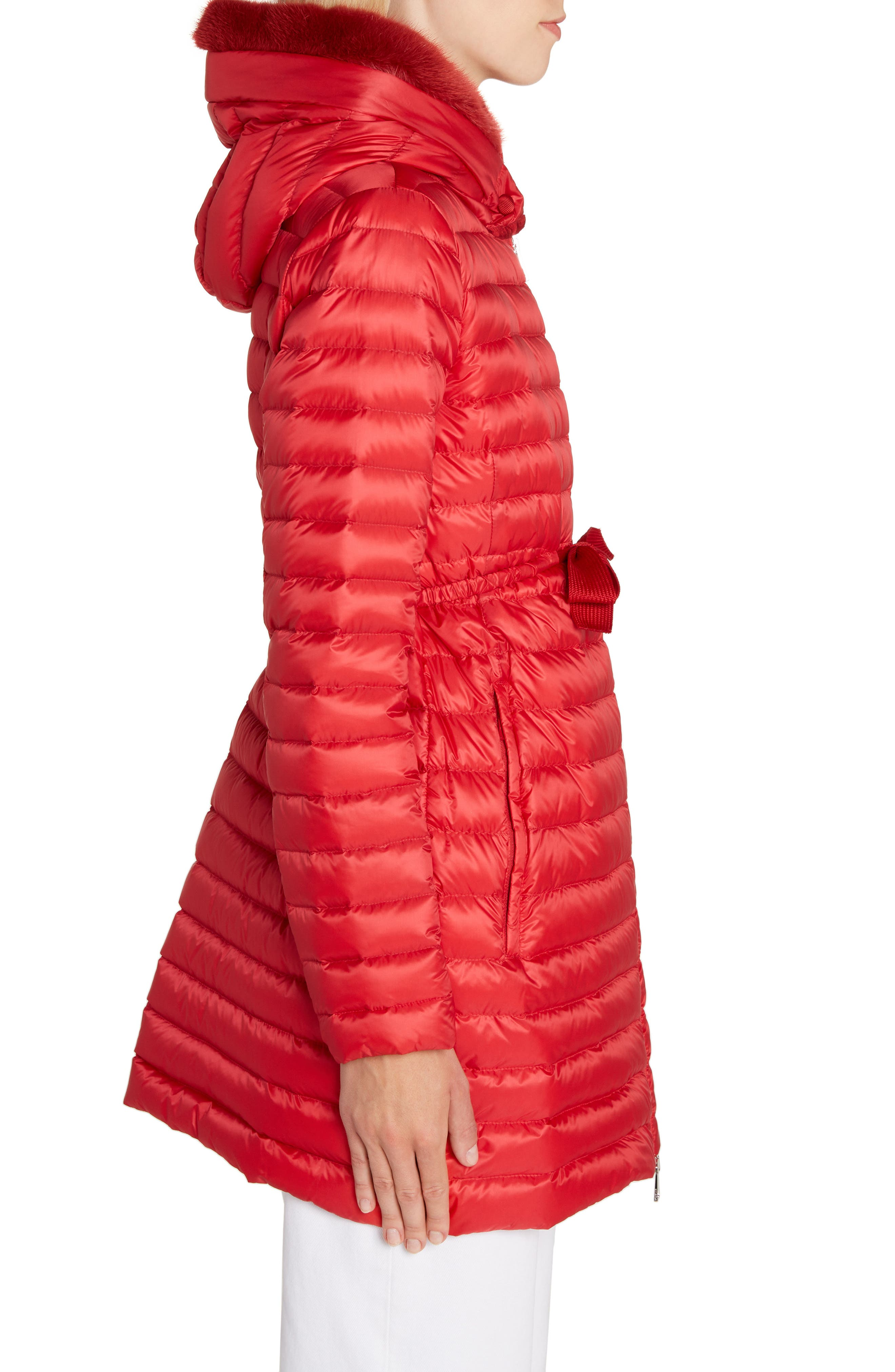 MONCLER, Barbel Quilted Down Coat with Genuine Mink Fur Trim, Alternate thumbnail 3, color, RED