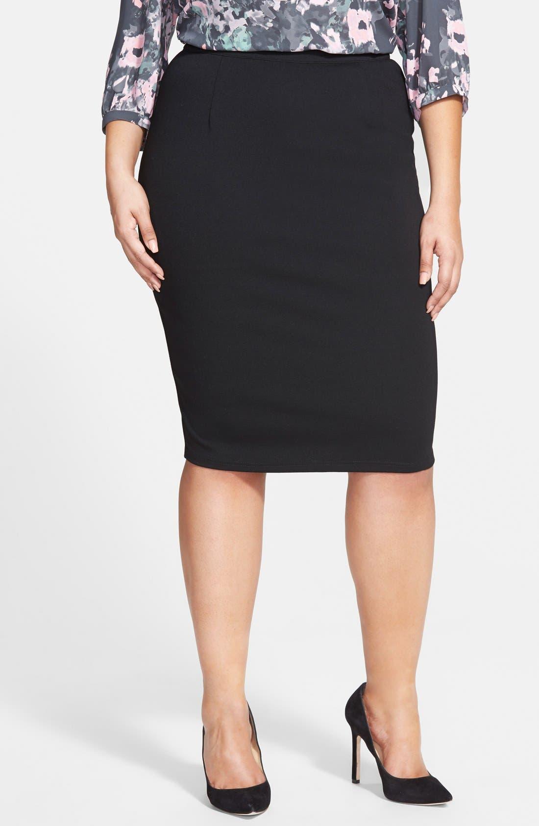 CITY CHIC Back Zip Tube Skirt, Main, color, BLACK