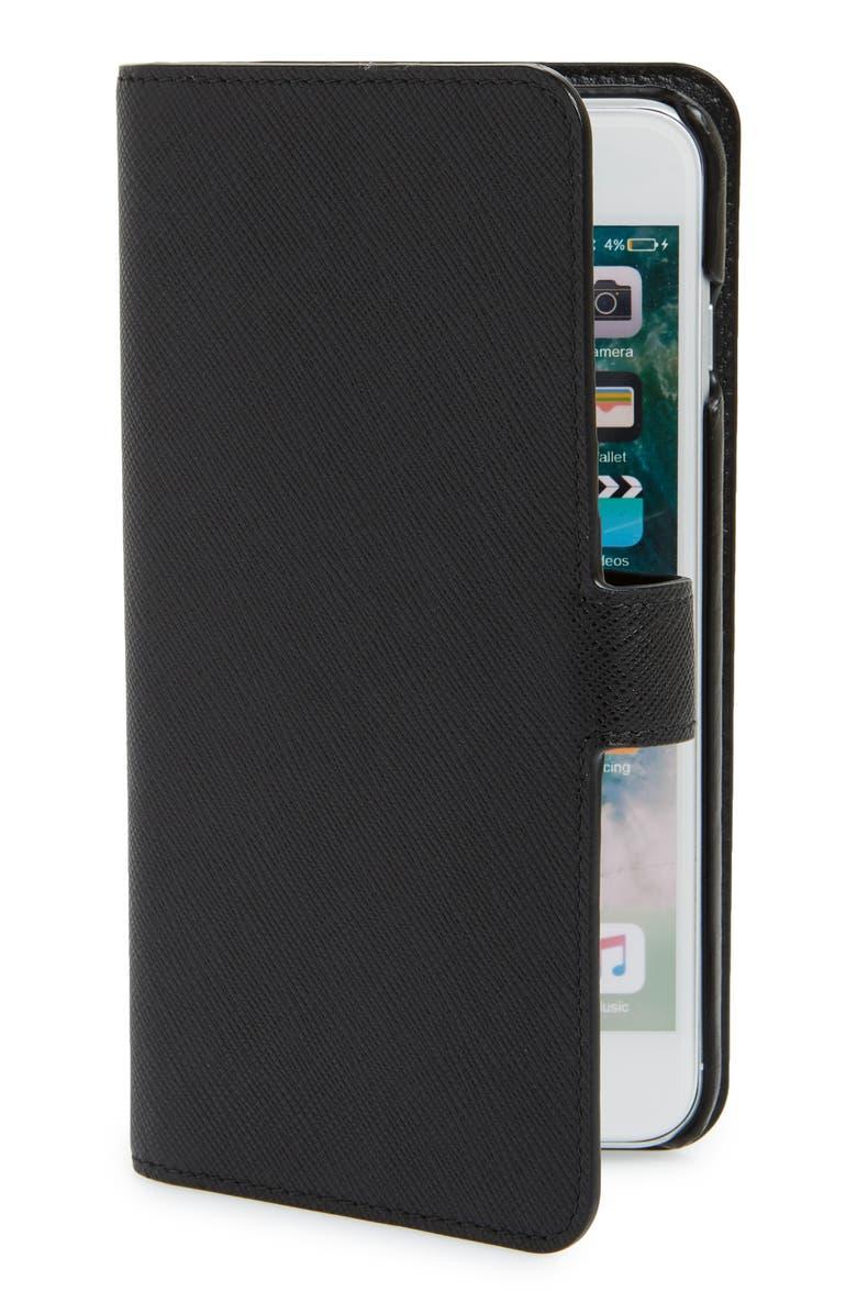 2df5d18b51a40c PRADA Saffiano iPhone 8 Wallet, Main, color, 001