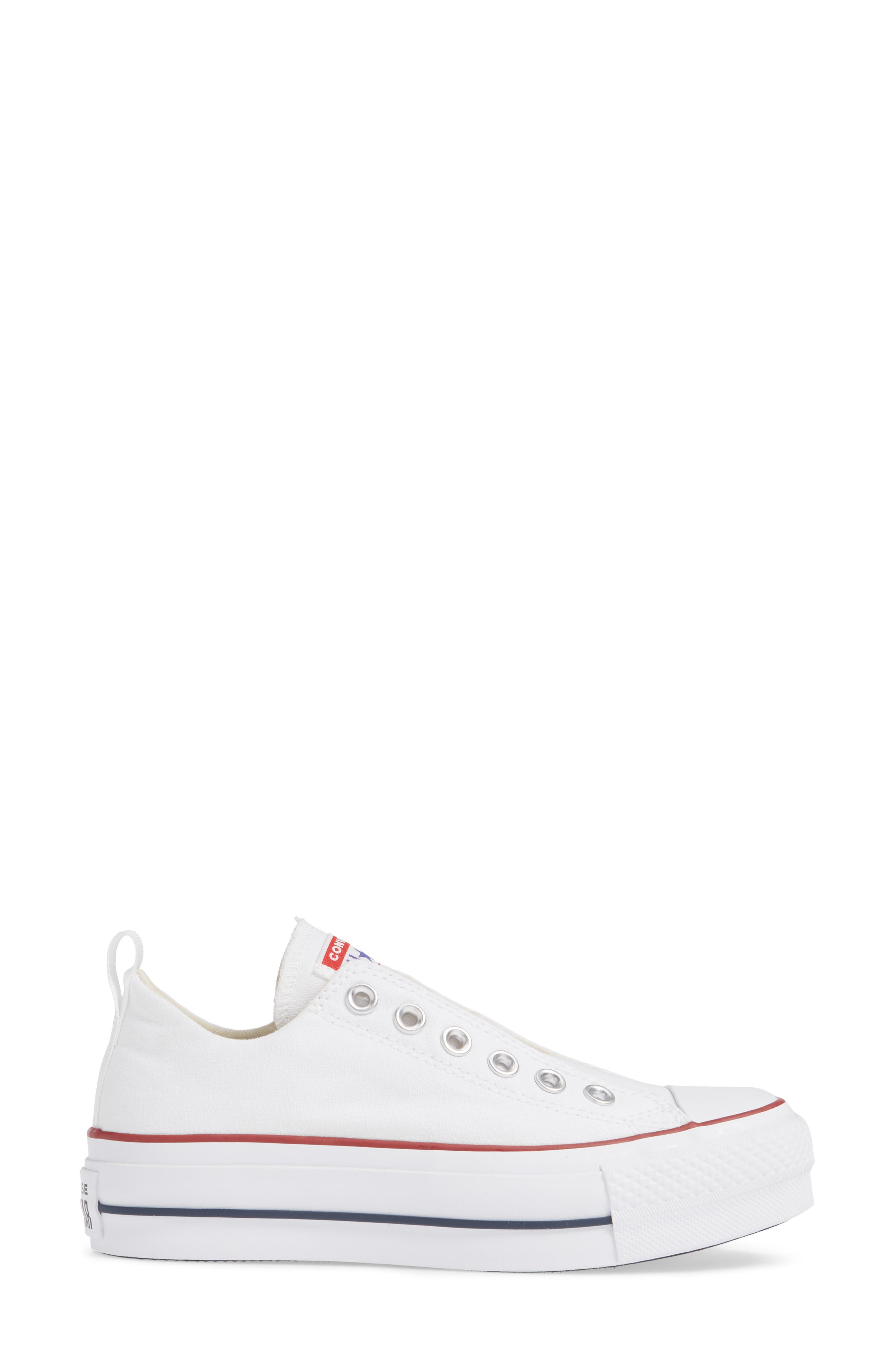 CONVERSE, Chuck Taylor<sup>®</sup> All Star<sup>®</sup> Low Top Sneaker, Alternate thumbnail 3, color, WHITE/ RED/ BLUE