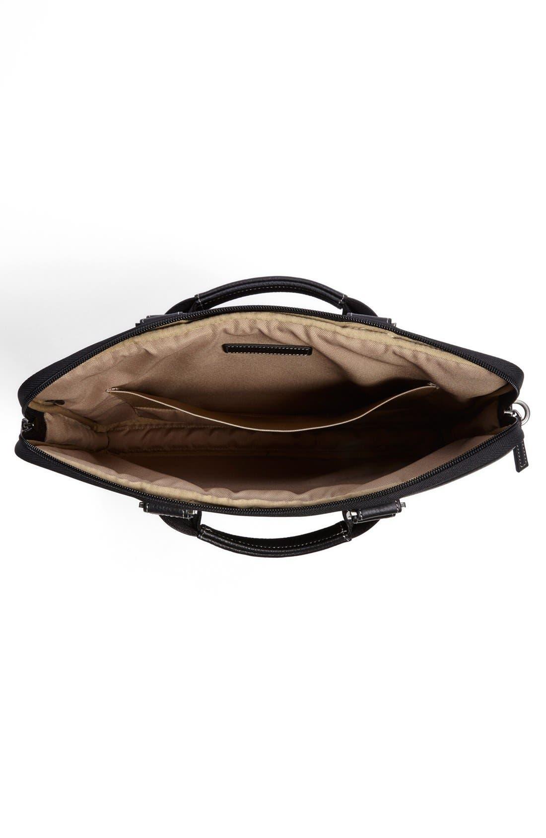 BOCONI, 'Tyler' Leather Laptop Briefcase, Alternate thumbnail 4, color, BLACK/ KHAKI