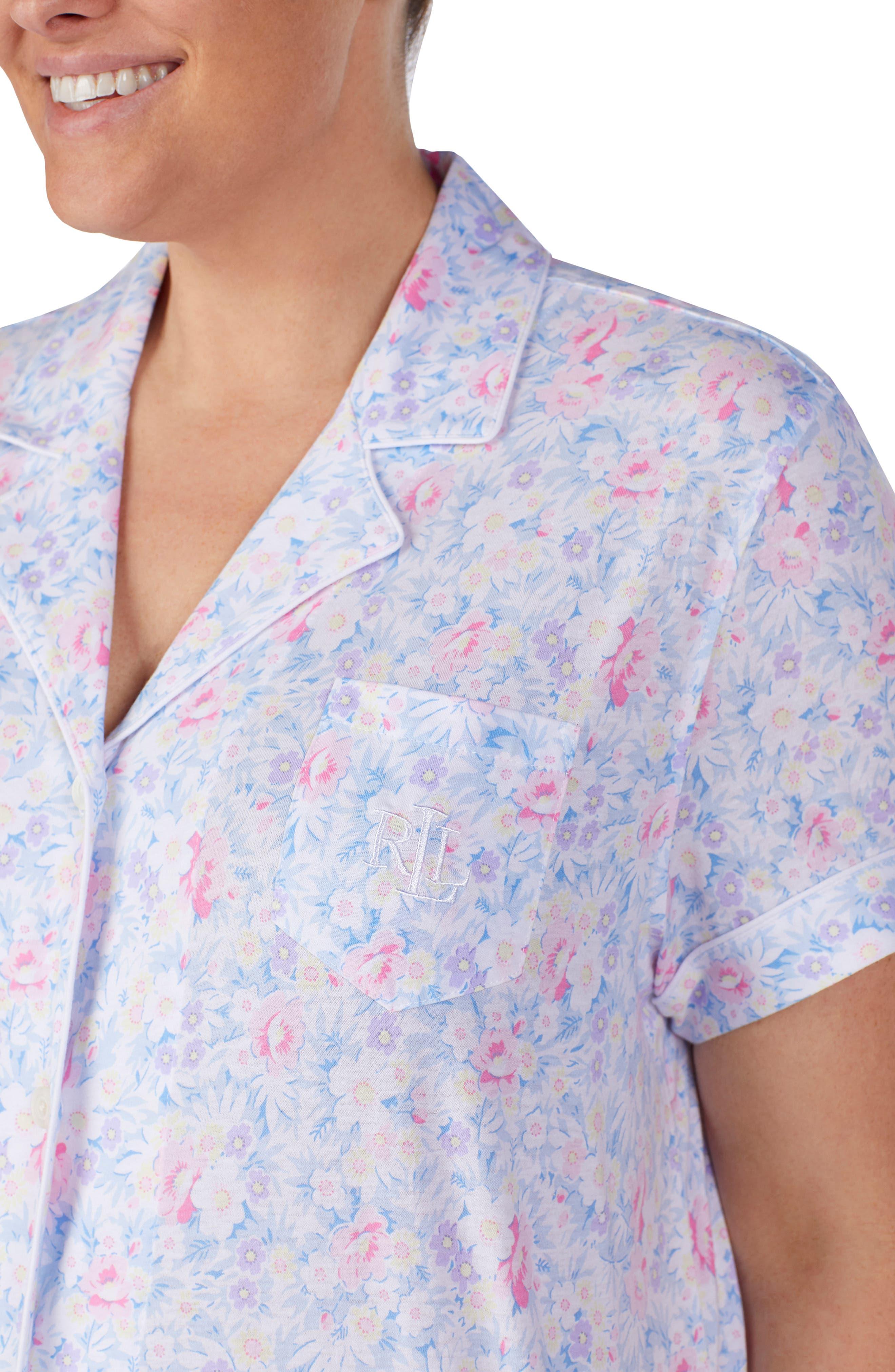 LAUREN RALPH LAUREN, Bermuda Shorts Pajamas, Alternate thumbnail 6, color, PINK FLORAL