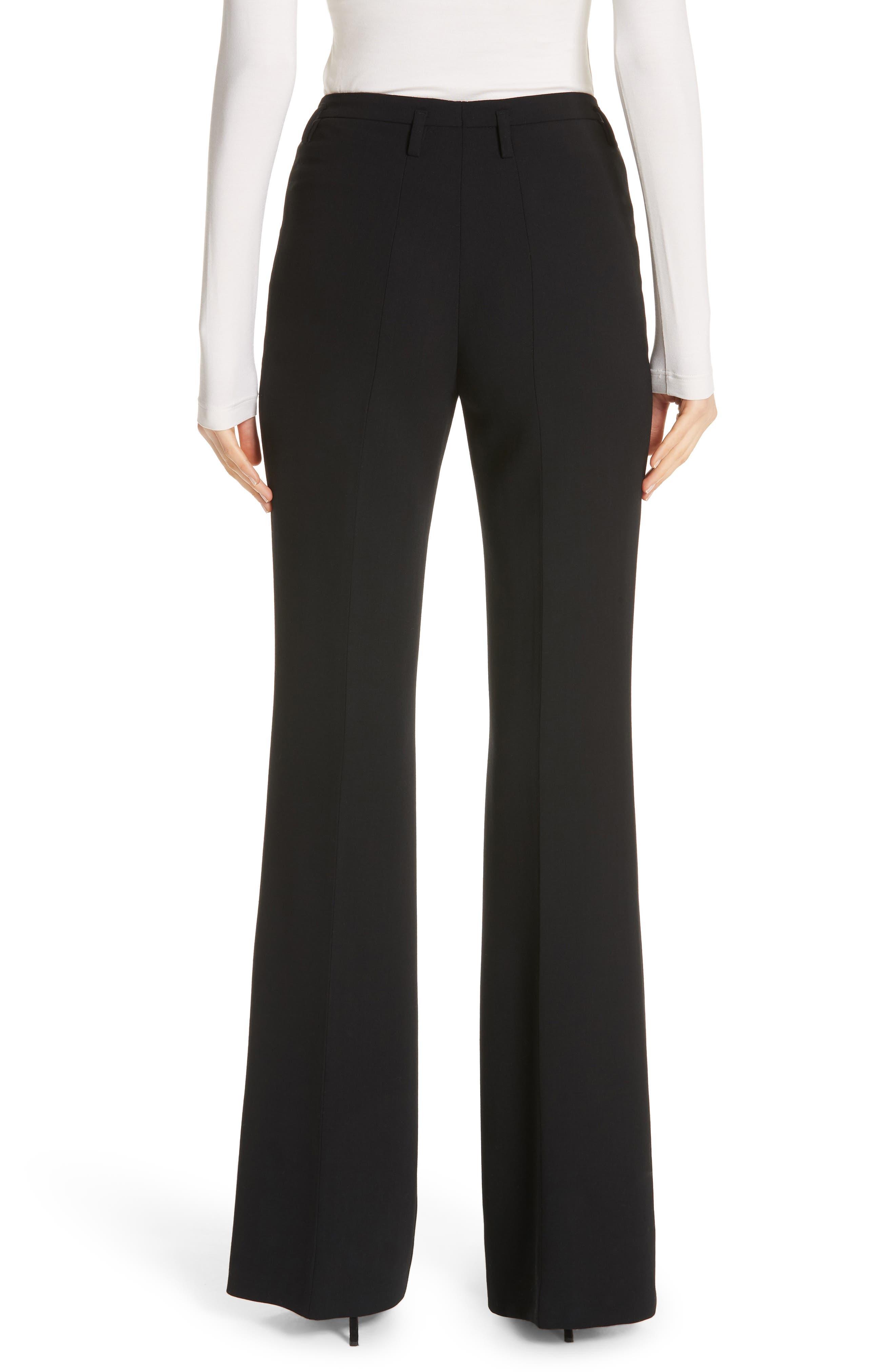 AKRIS, Farrah Stretch Wool Flare Pants, Alternate thumbnail 2, color, BLACK