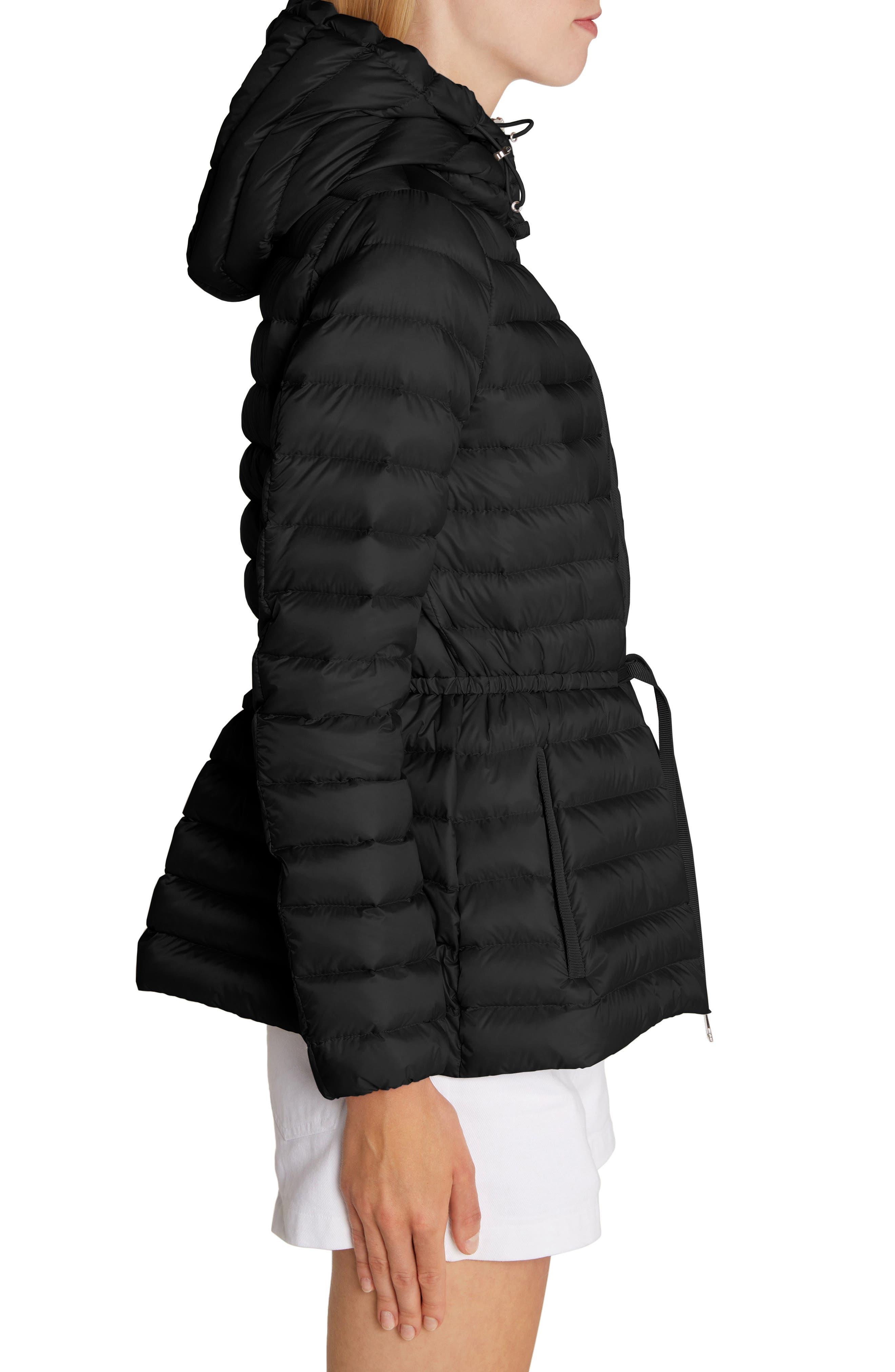 MONCLER, Raie Tie Waist Hooded Down Coat, Alternate thumbnail 3, color, BLACK